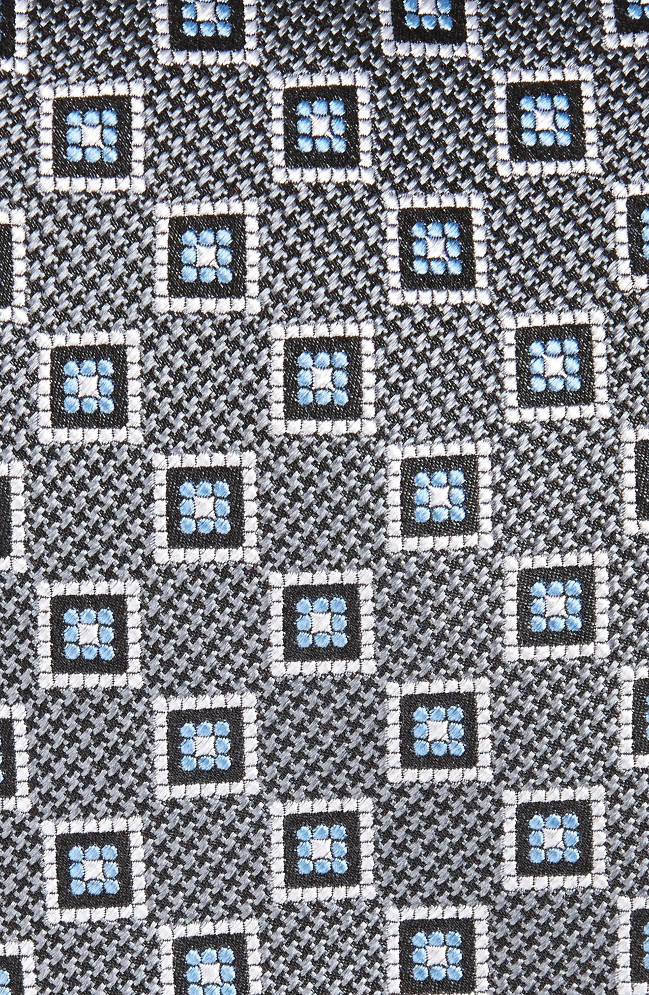 Neat Geometric Medallion Silk Tie,                             Alternate thumbnail 2, color,                             Silver