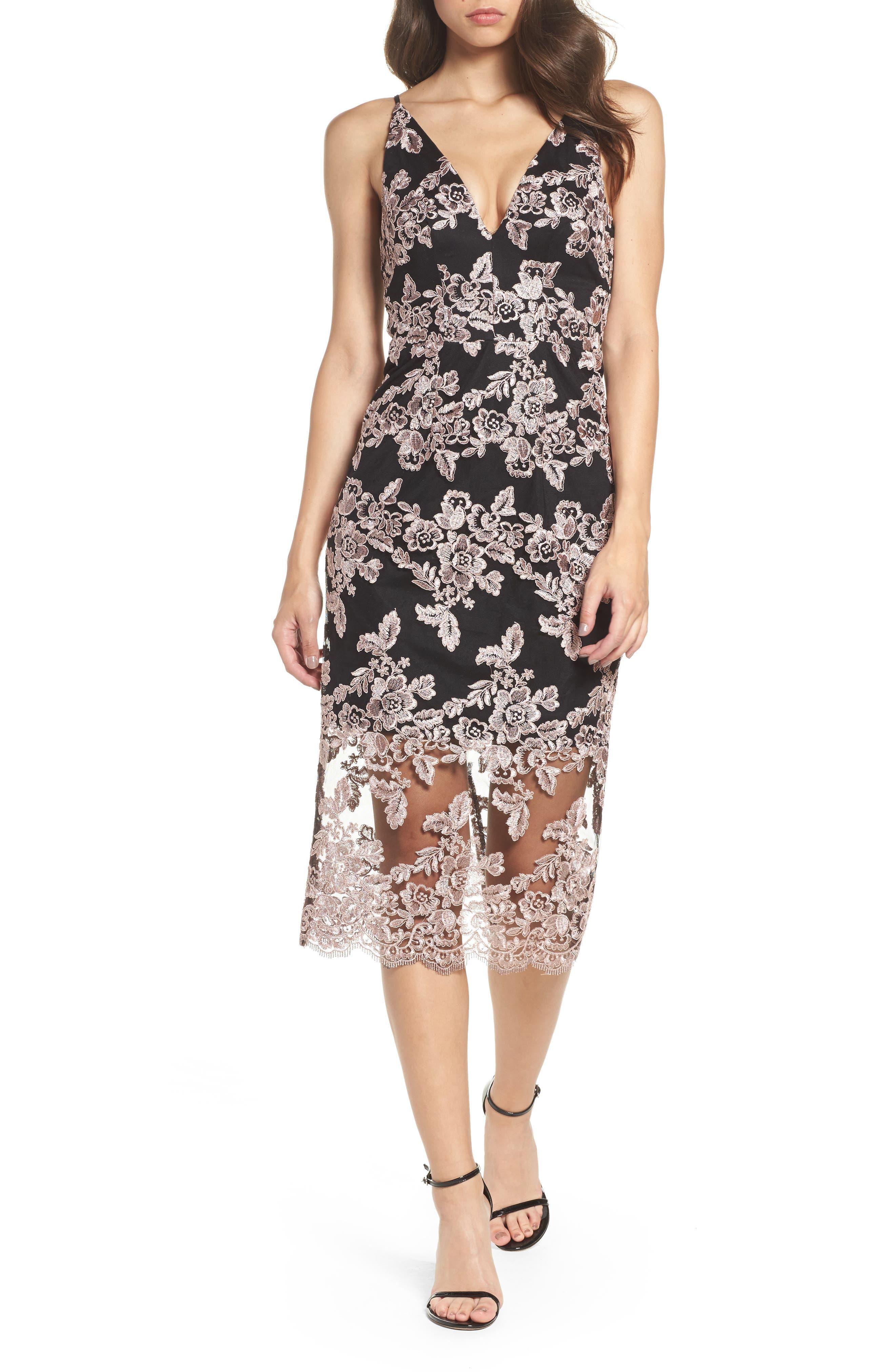 Plunge Lace Midi Dress,                         Main,                         color, Black/ Mauve