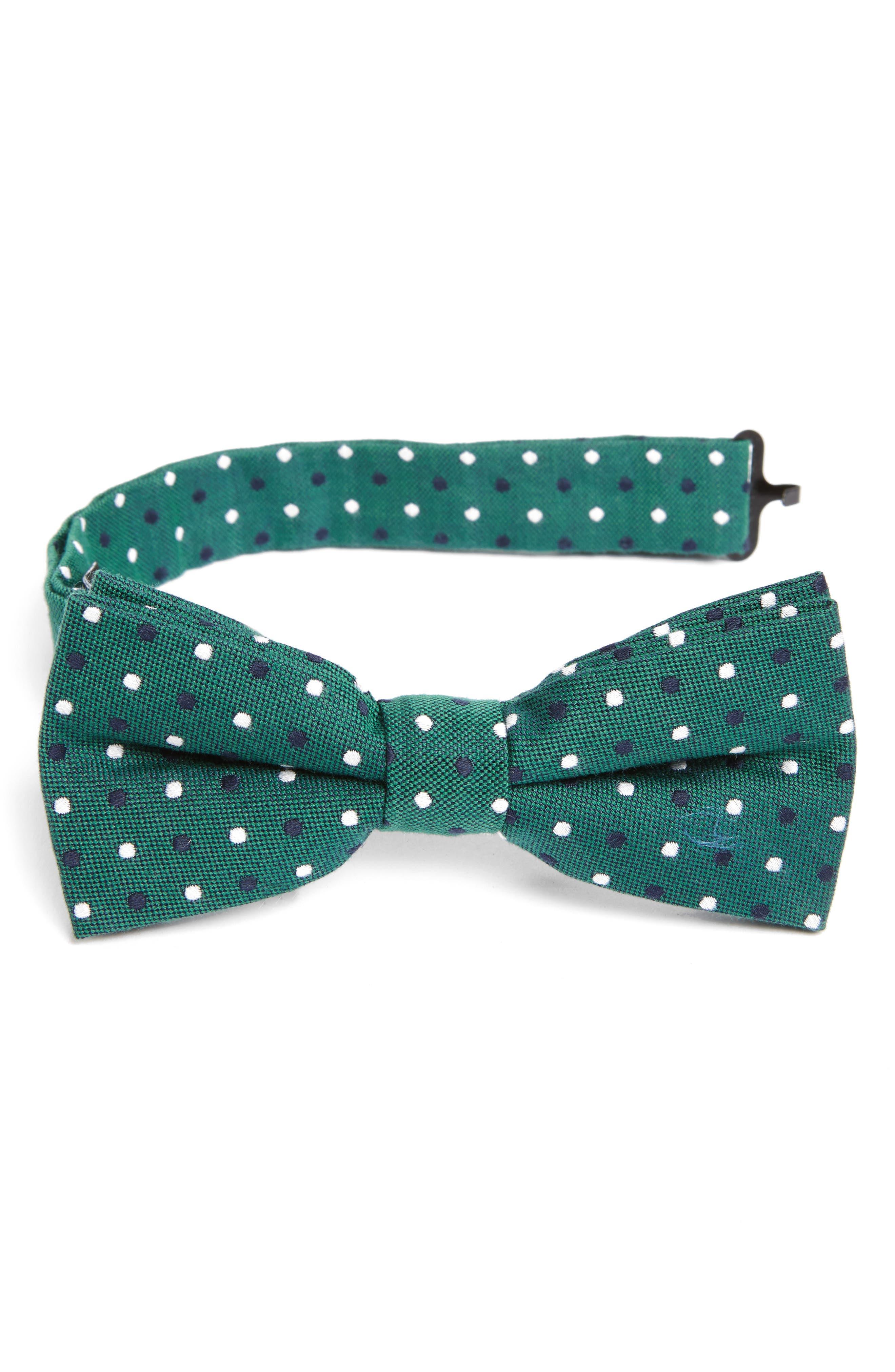 Dot Cotton & Silk Bow Tie,                         Main,                         color, Green