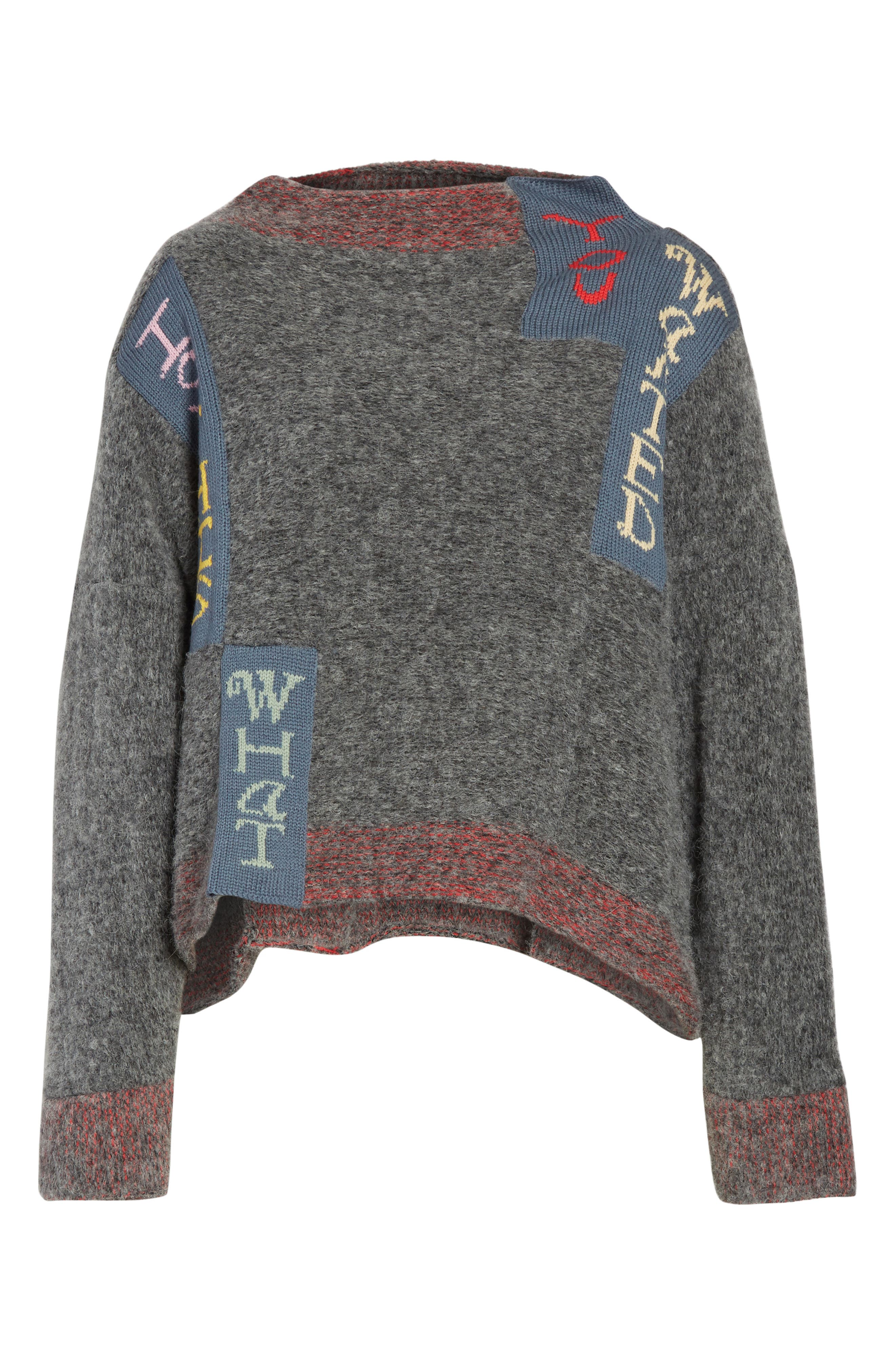 Is This What You Wanted Crop Sweater,                             Alternate thumbnail 6, color,                             Charcoal