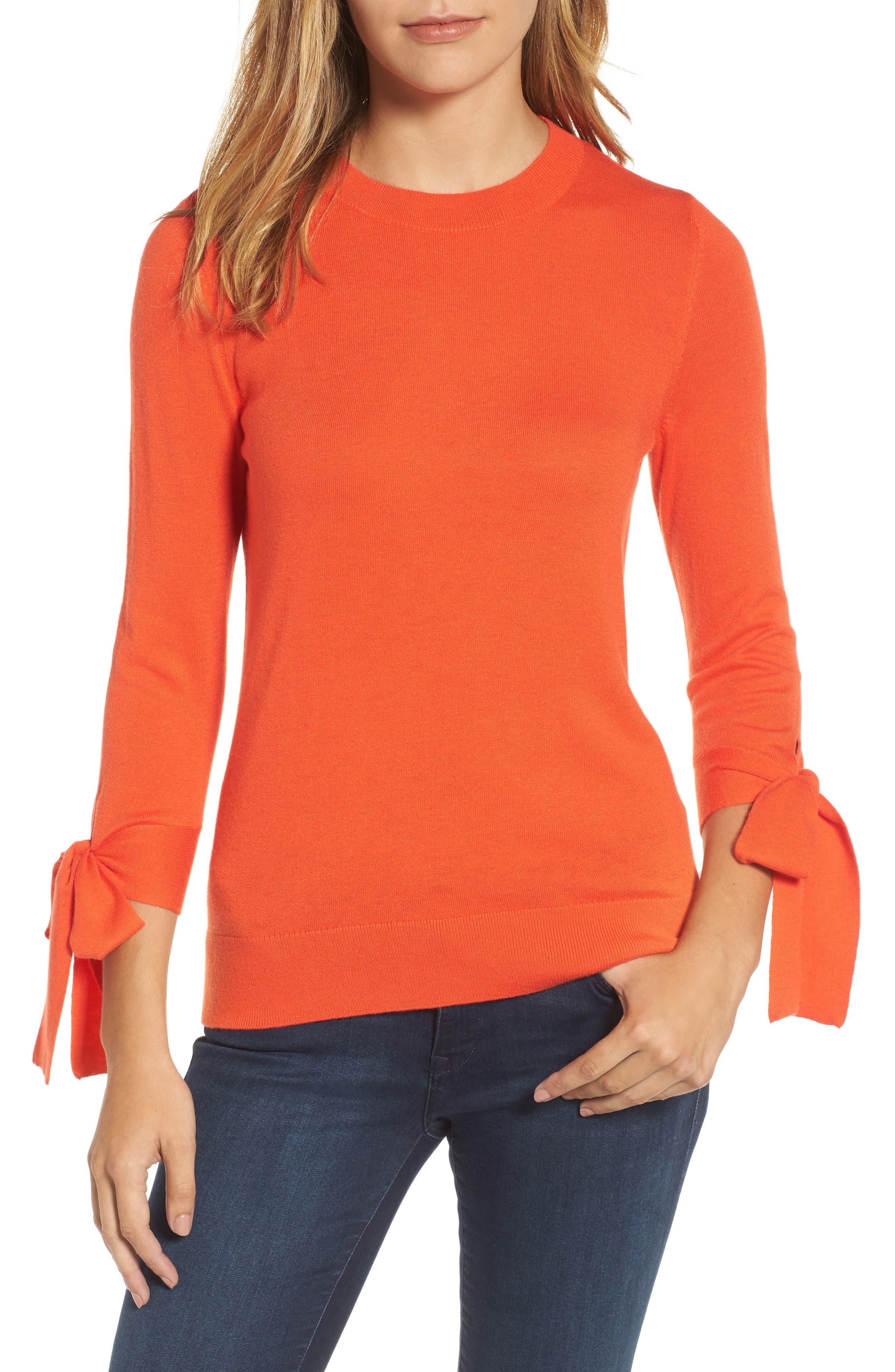 Halogen® Tie Sleeve Crewneck Sweater (Regular & Petite)