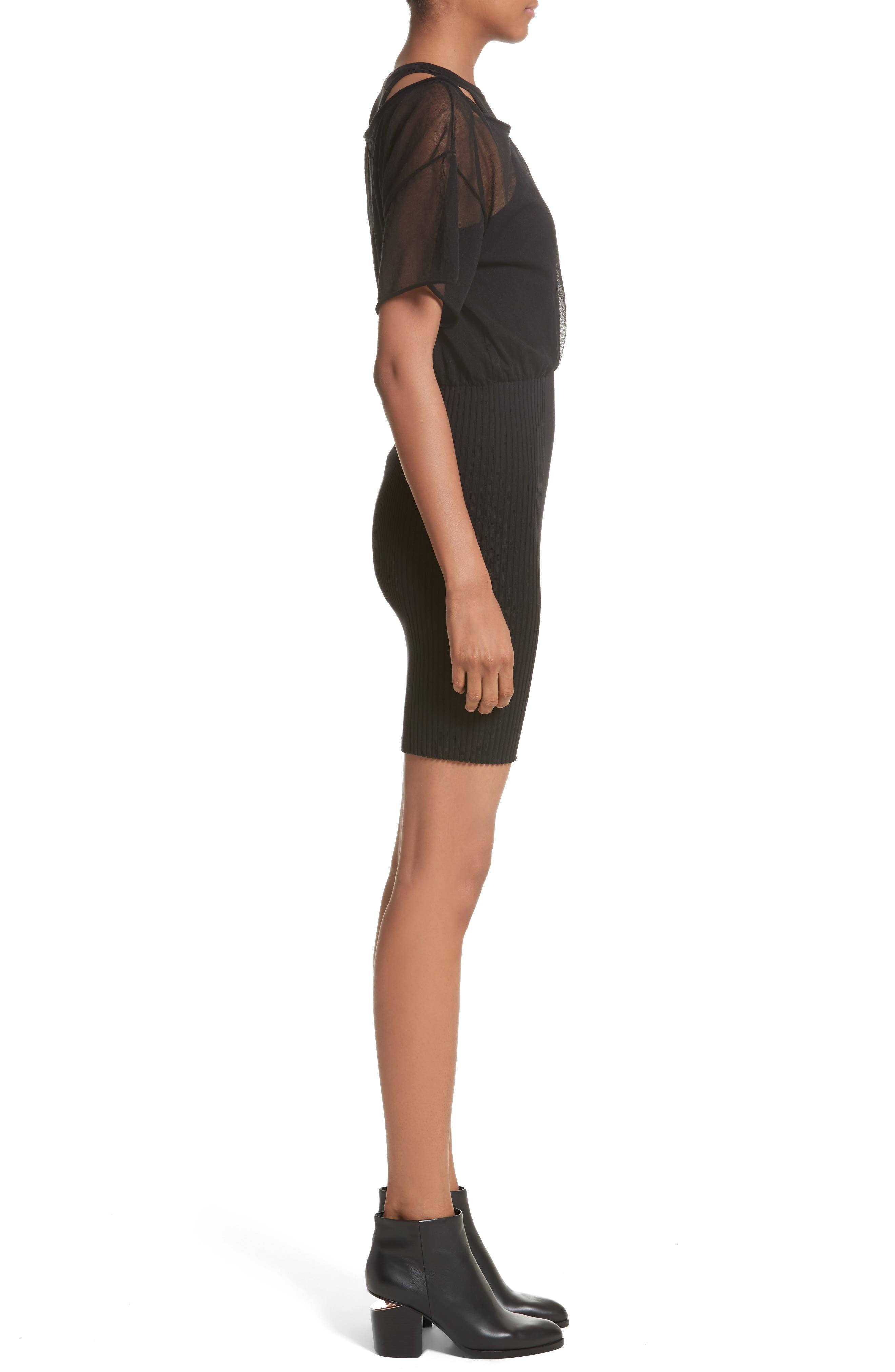 Sheer Popover Knit Dress,                             Alternate thumbnail 3, color,                             Black