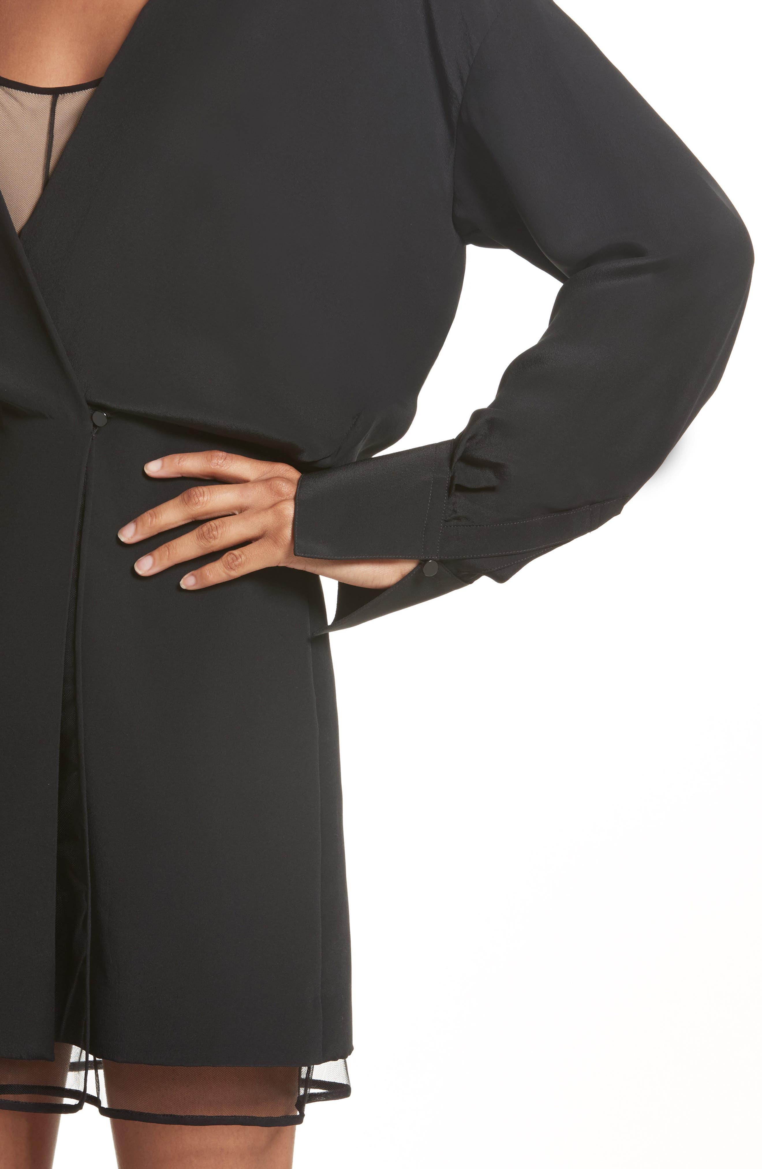 Tulle Lined Minidress,                             Alternate thumbnail 4, color,                             Black