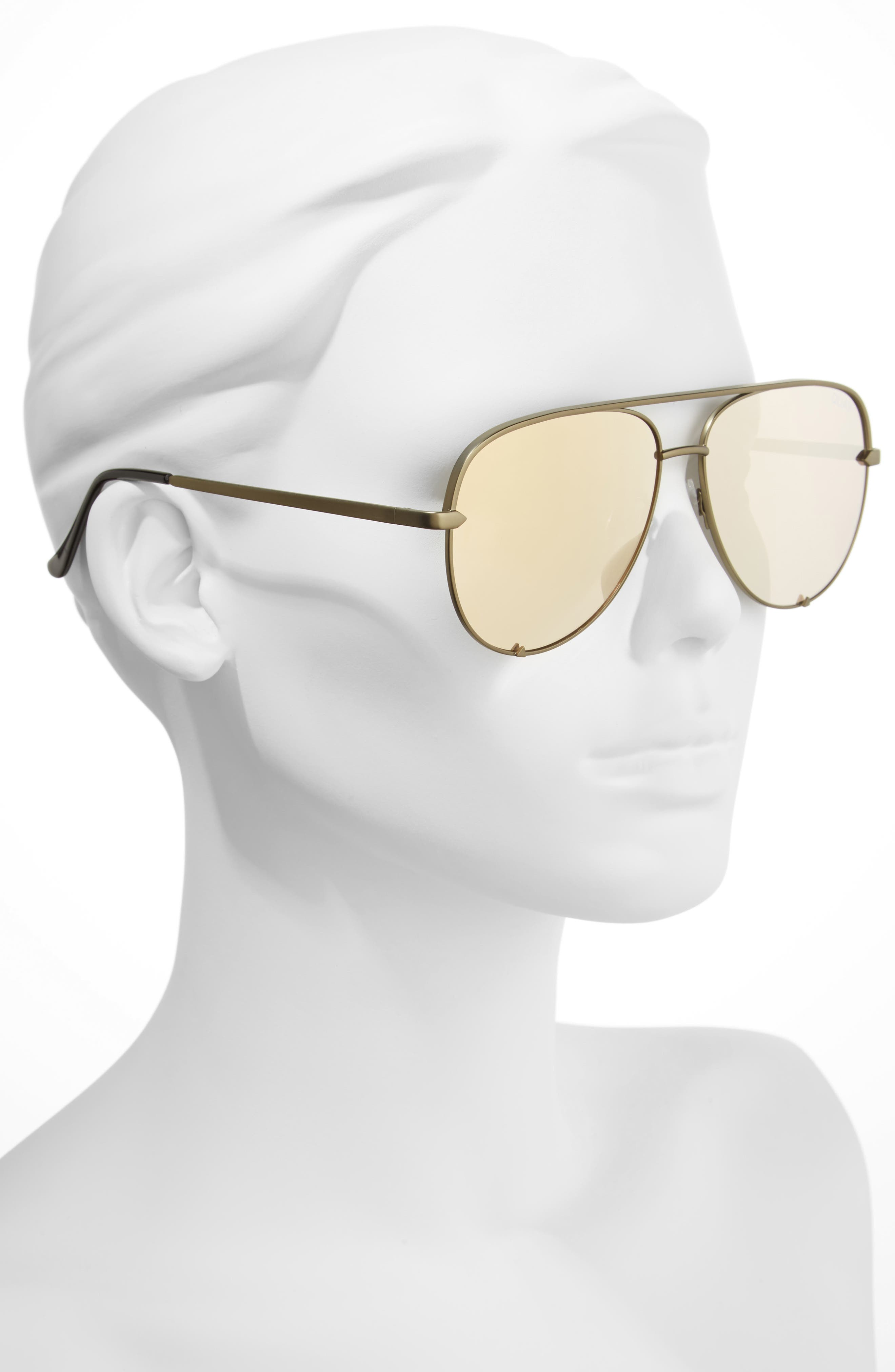 x Desi Perkins High Key 60mm Aviator Sunglasses,                             Alternate thumbnail 3, color,                             Green/ Gold