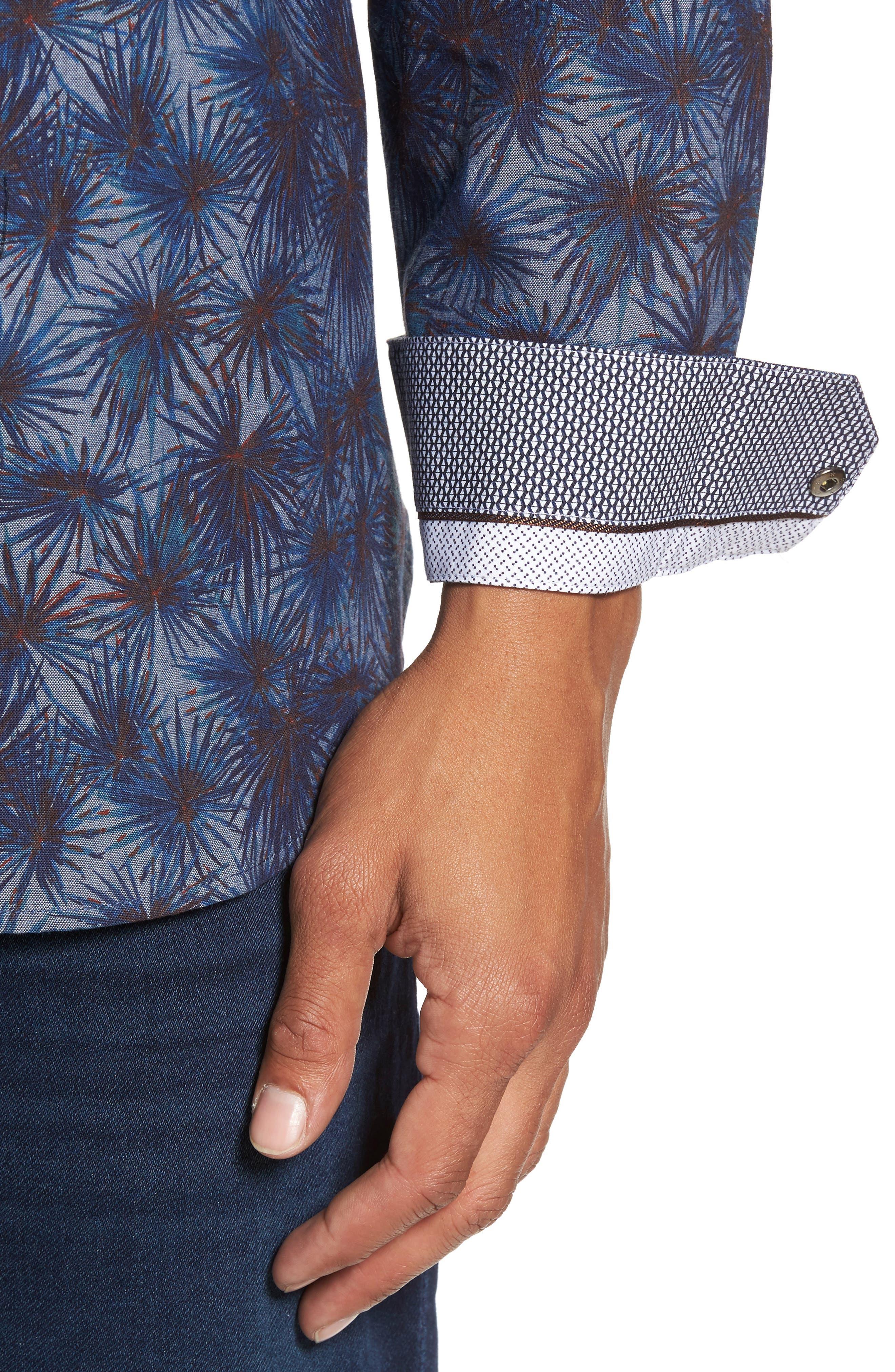 Modern Slim Fit Palm Print Sport Shirt,                             Alternate thumbnail 4, color,                             Blue