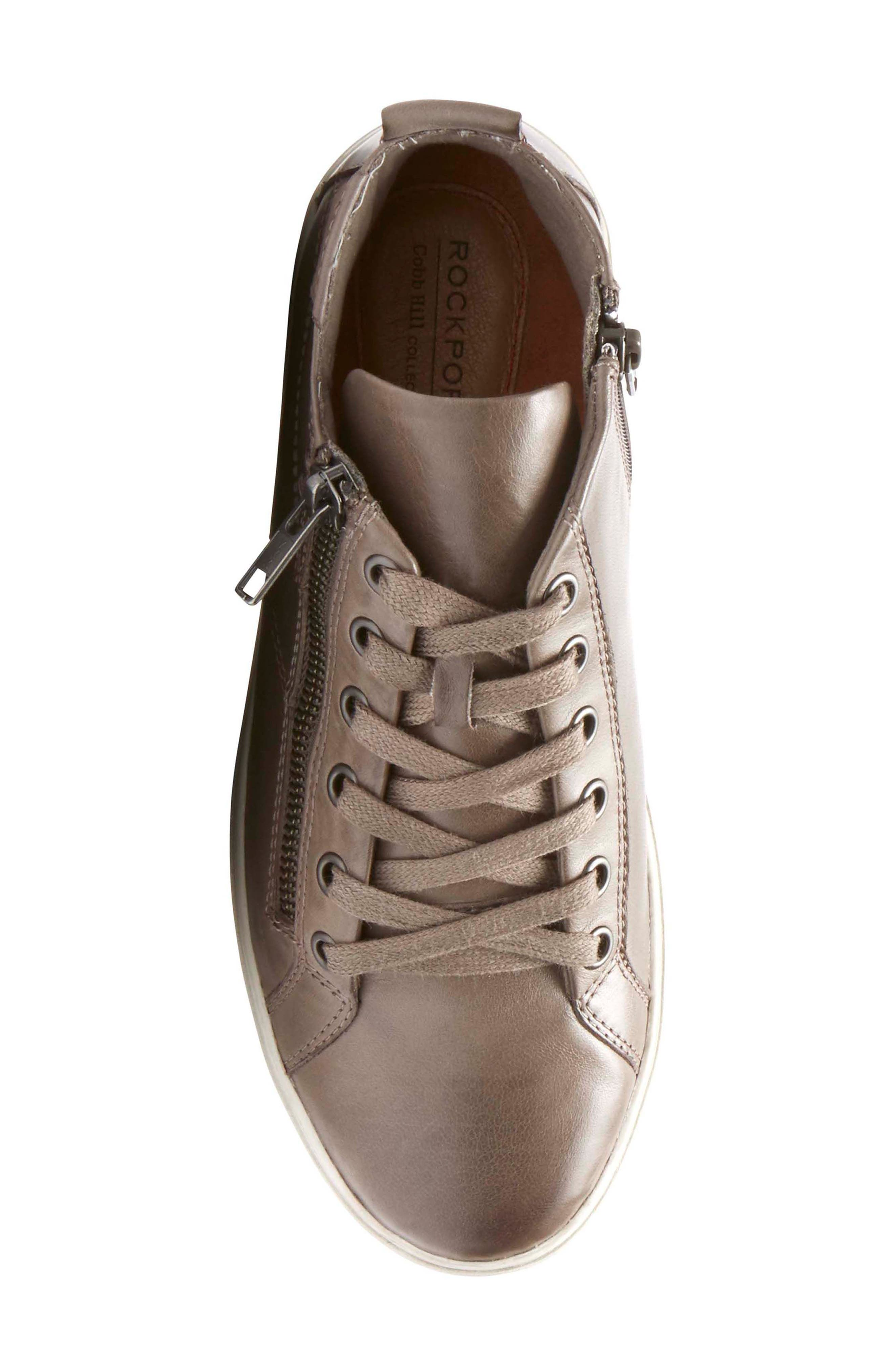Willa High Top Sneaker,                             Alternate thumbnail 5, color,                             Grey Leather