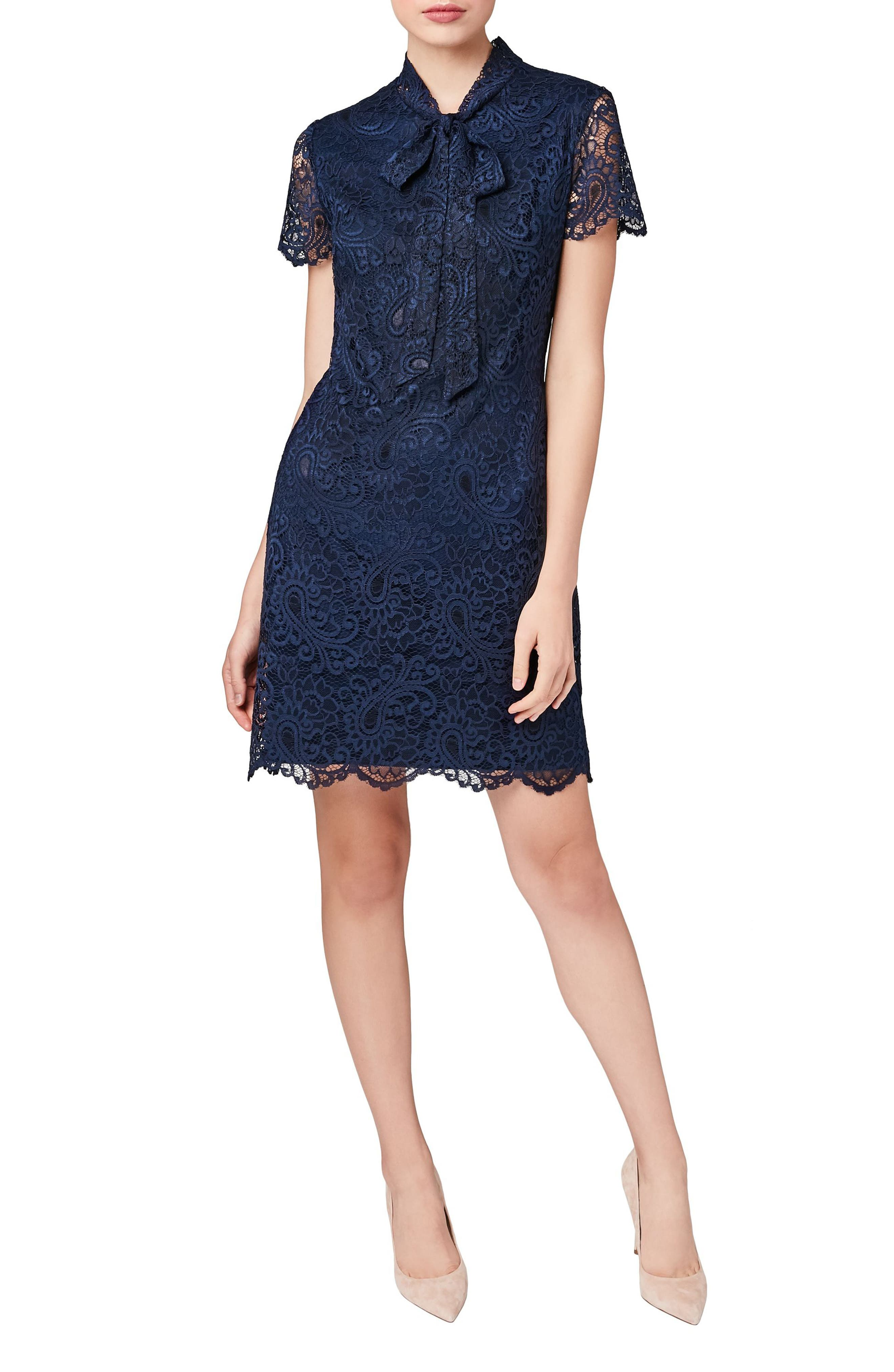Tie Neck Lace A-Line Dress,                         Main,                         color, Blue