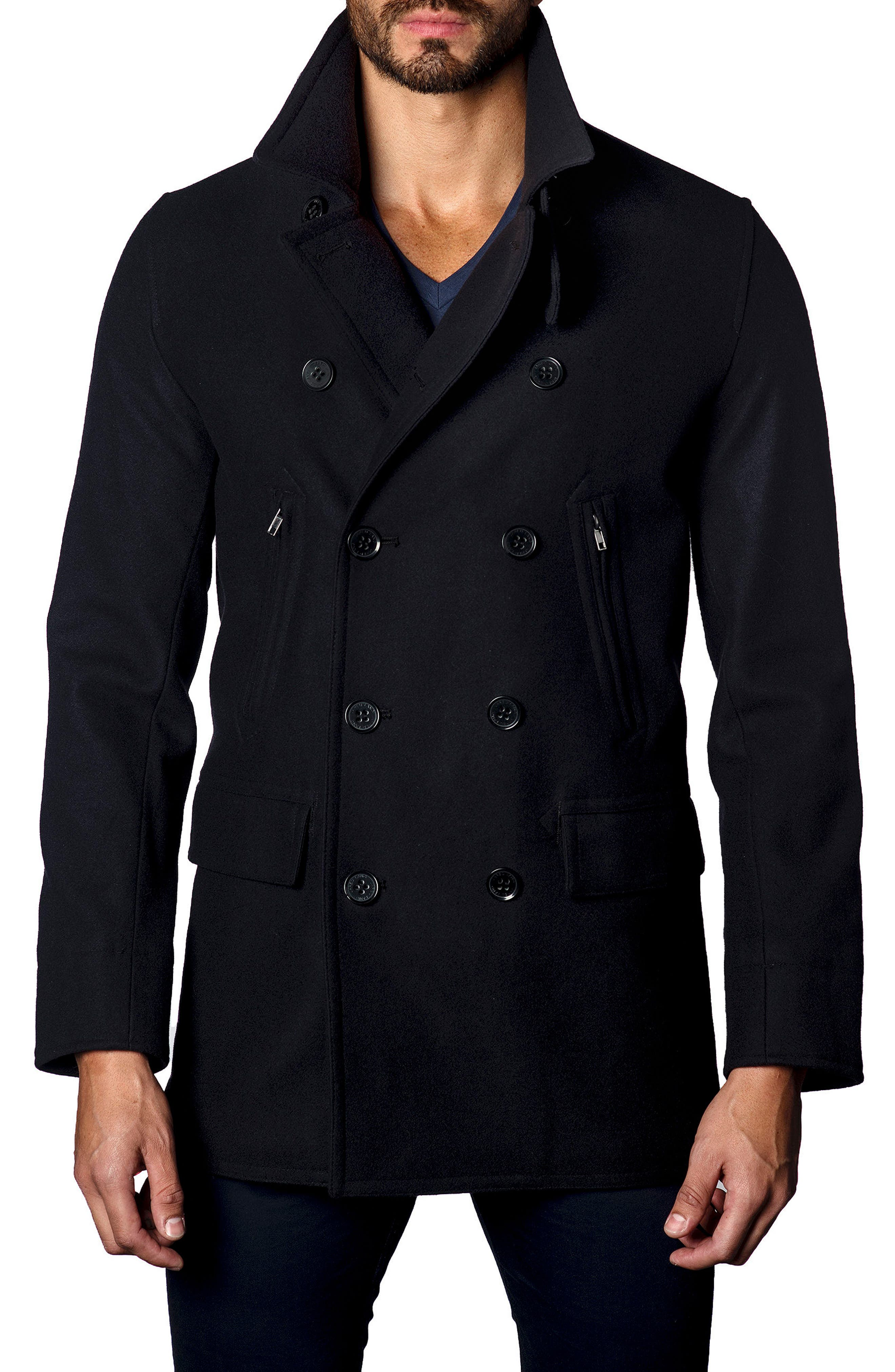 Double-Breasted Coat,                         Main,                         color, Navy Flat Wool