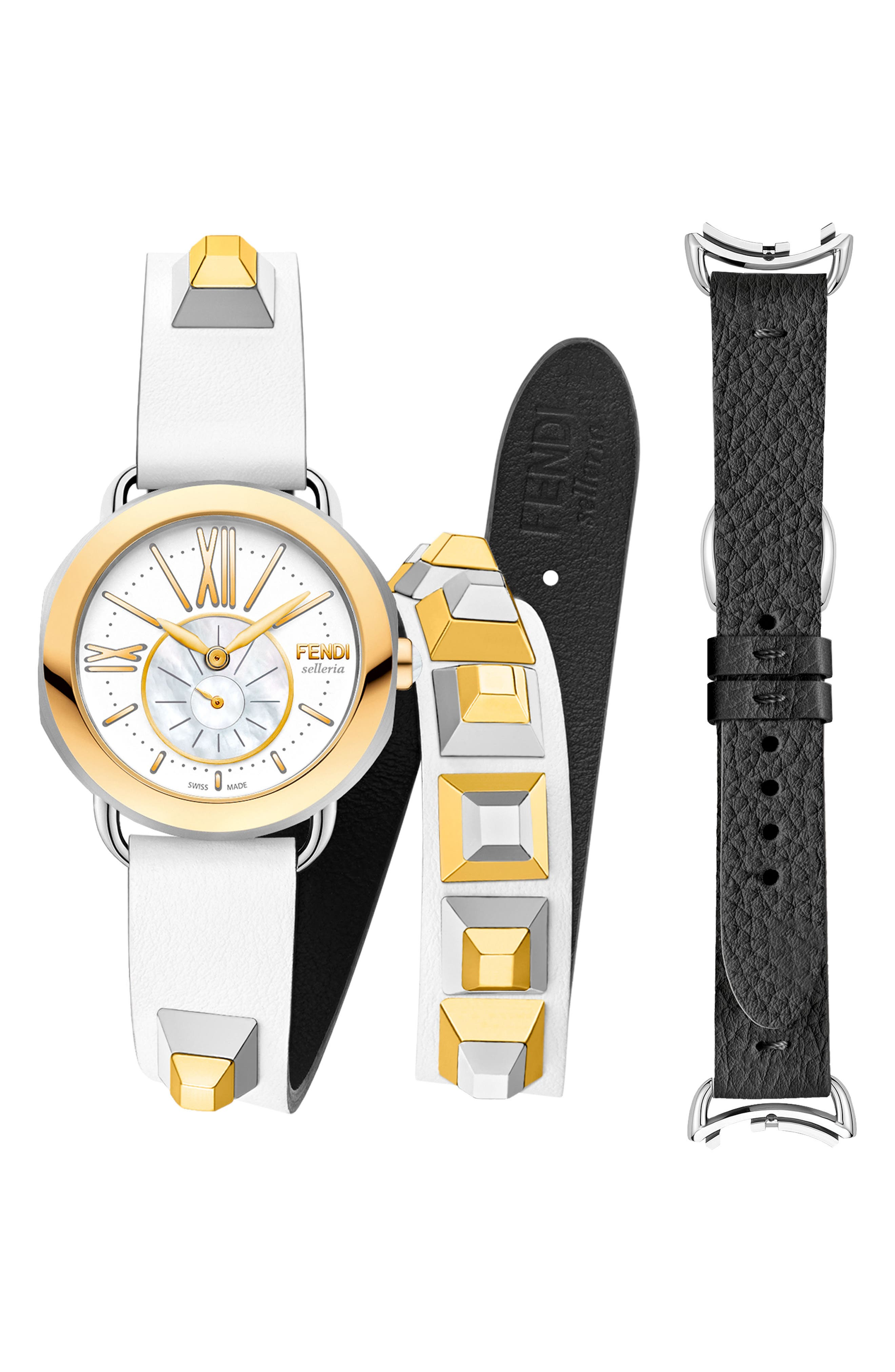 Alternate Image 1 Selected - Fendi Selleria Round Leather Strap Watch Set, 36mm