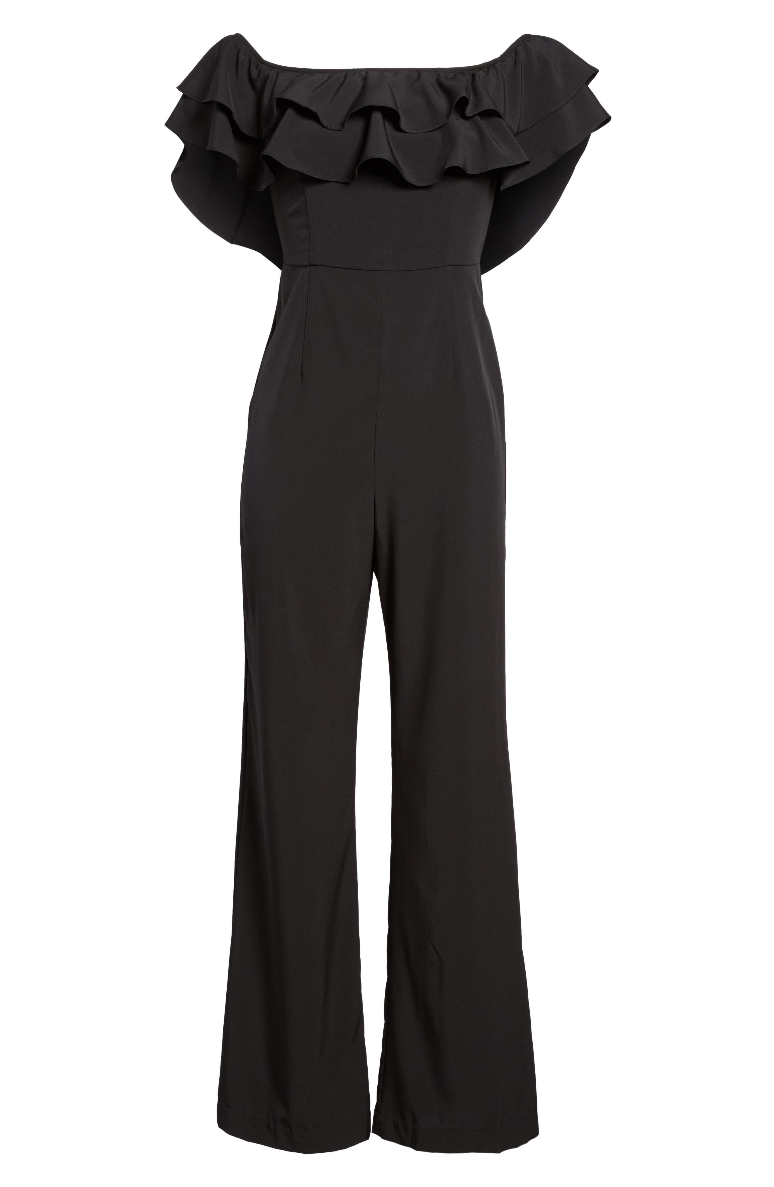 Alternate Image 6  - Socialite Ruffle Front Jumpsuit