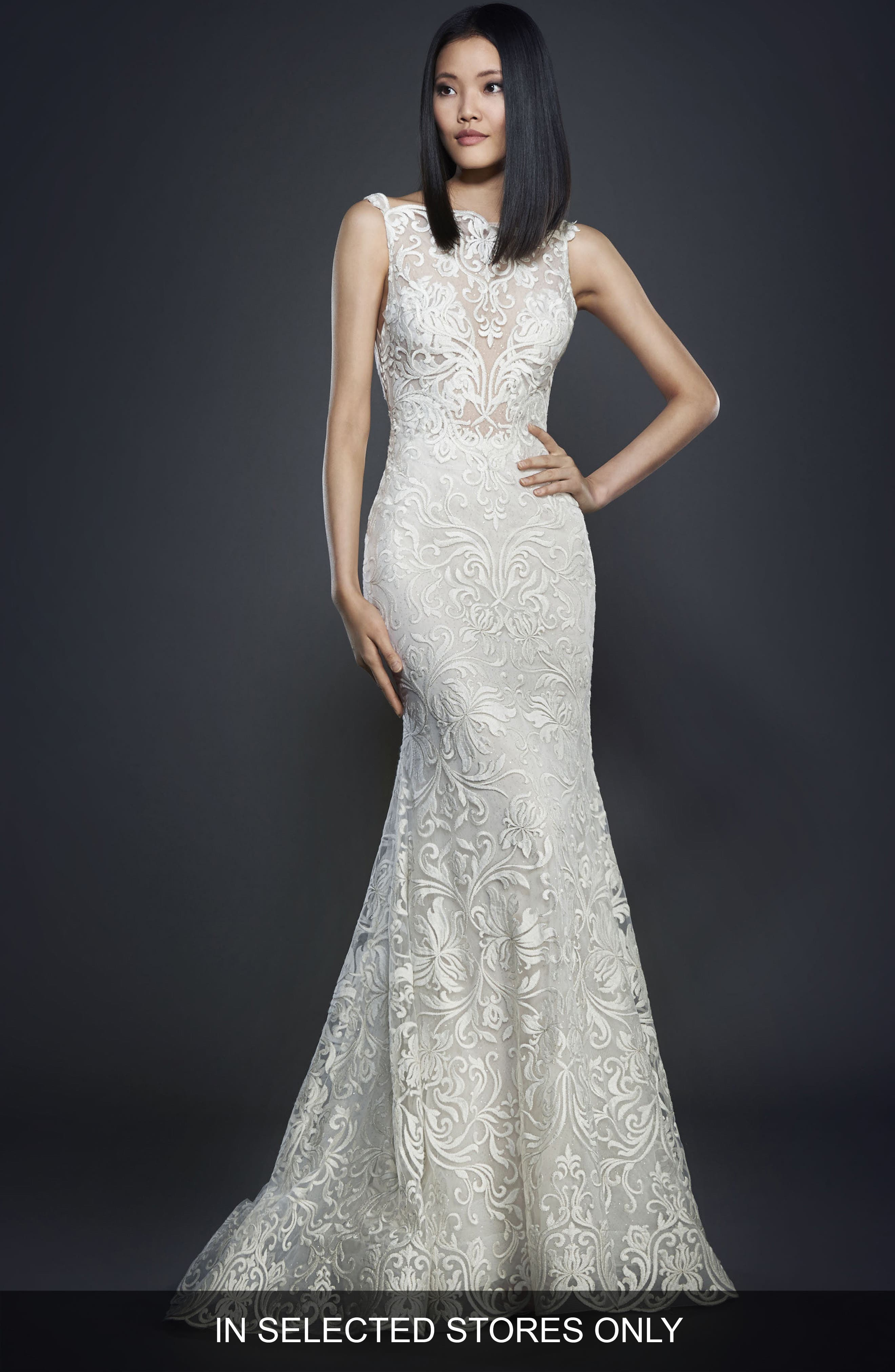 Floral Scroll Gown,                         Main,                         color, Ivory