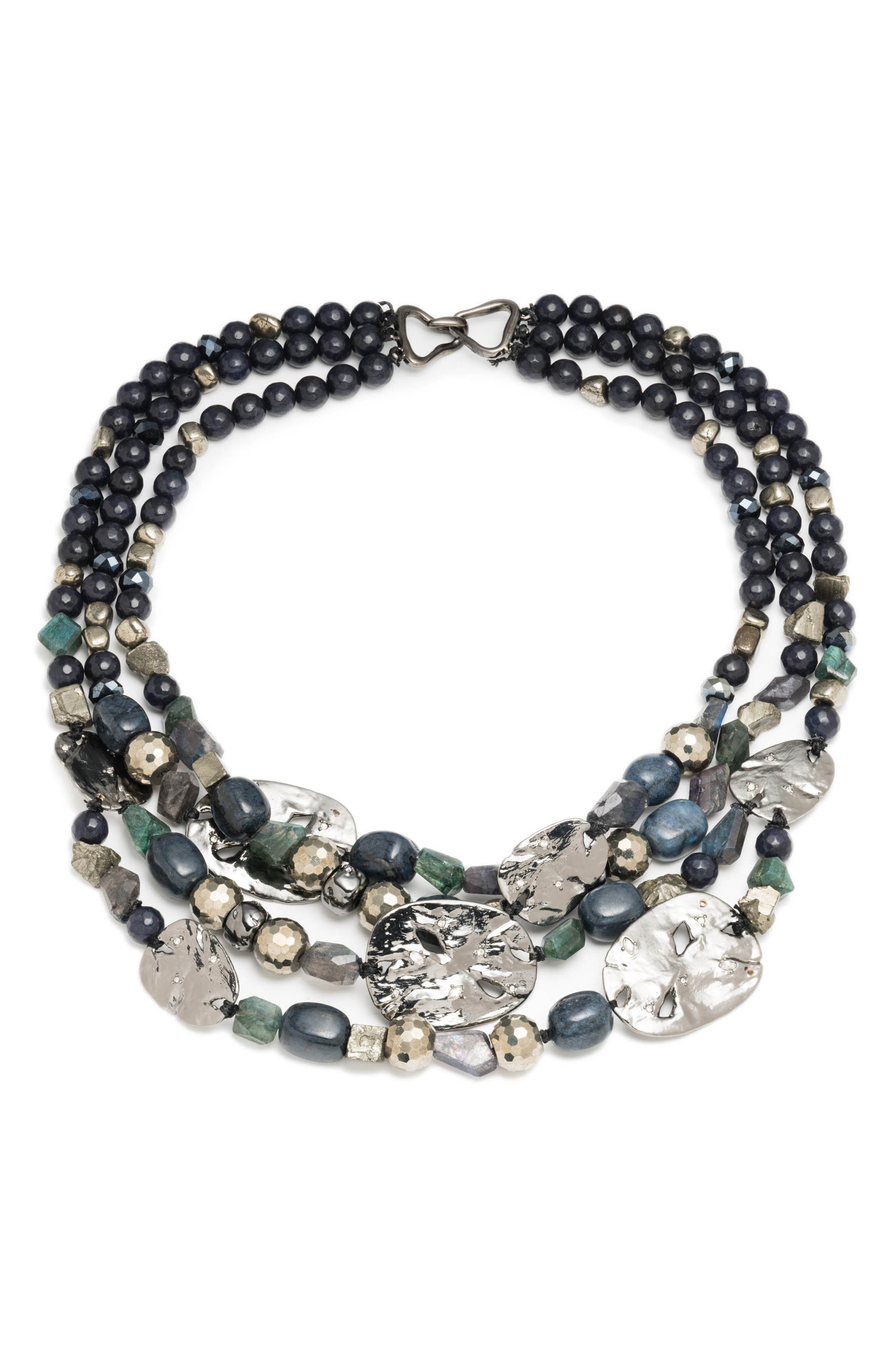 Elements Multistrand Beaded Necklace,                             Main thumbnail 1, color,                             Blue