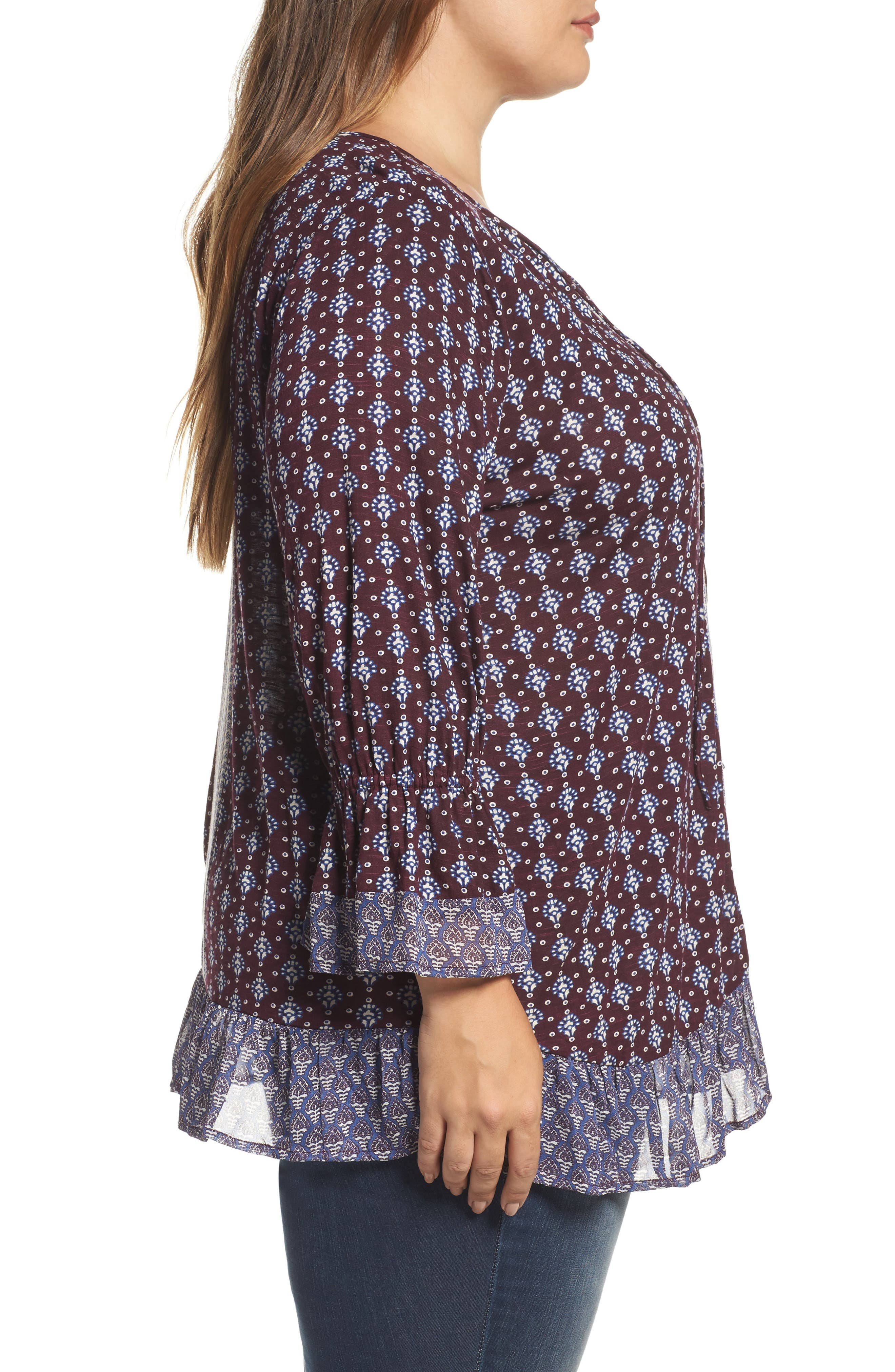 Alternate Image 3  - Lucky Brand Mix Print Peasant Top (Plus Size)