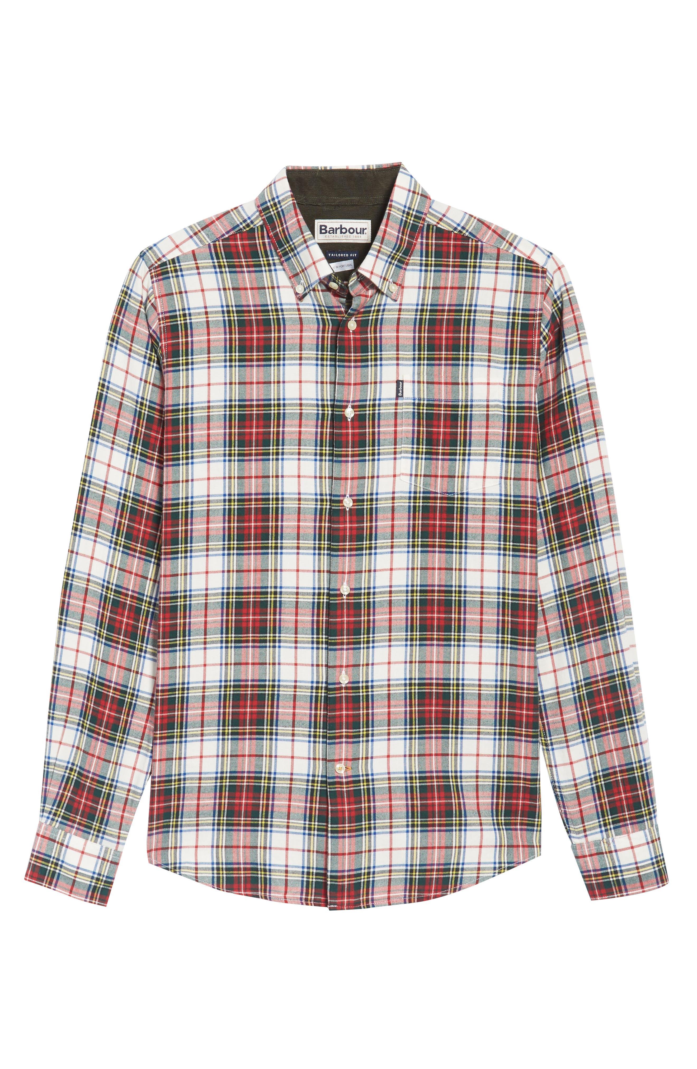 Alvin Tailored Fit Plaid Sport Shirt,                             Alternate thumbnail 6, color,                             White