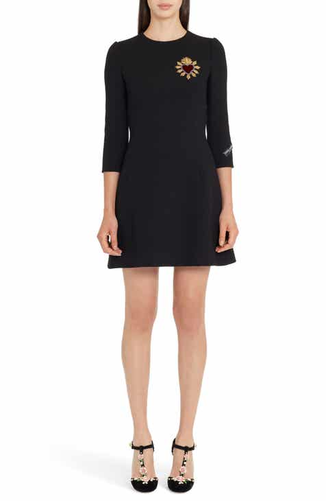 Dolce&Gabbana Heart Patch Wool Crepe Dress