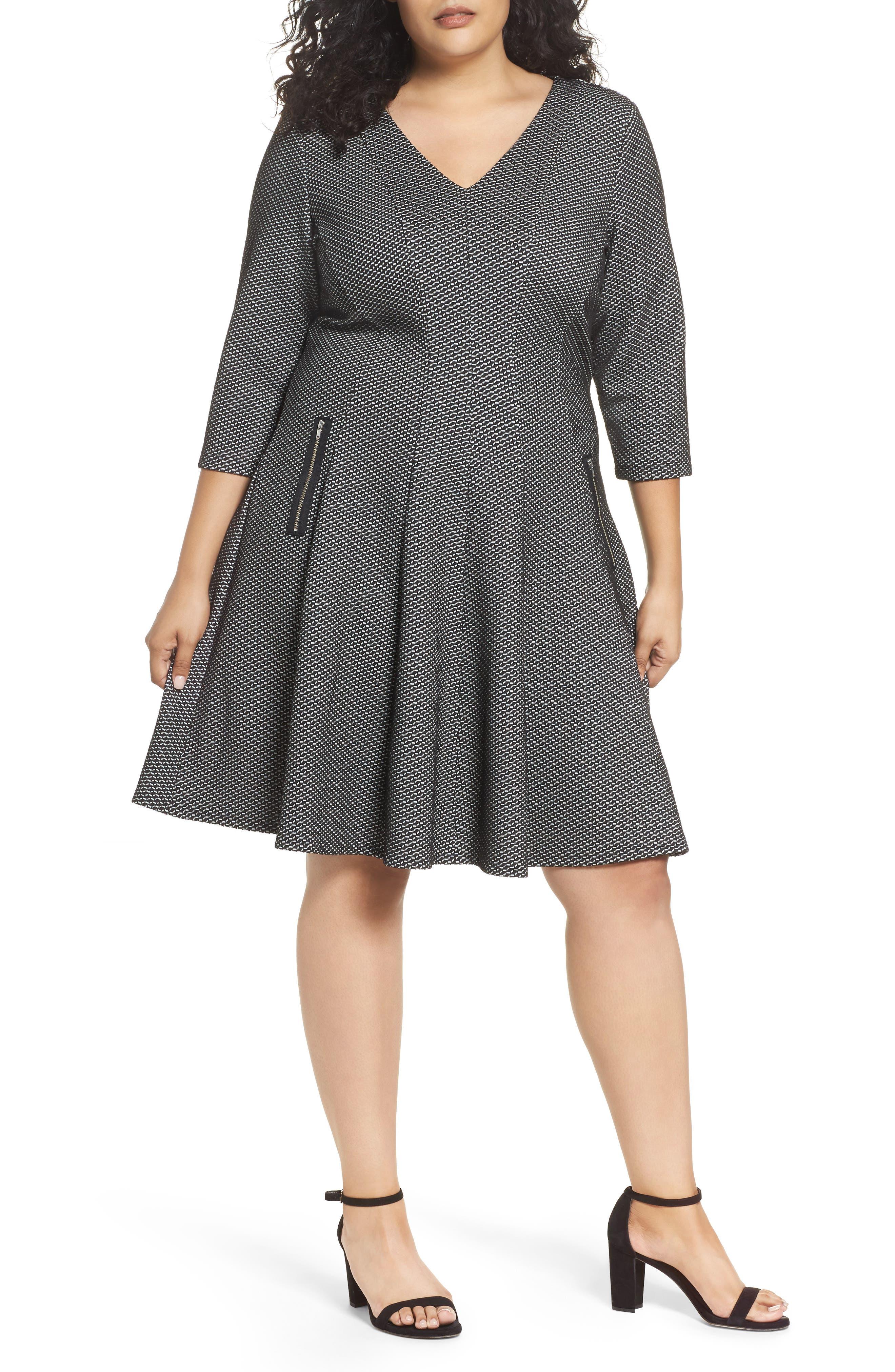 Jacquard Fit & Flare Dress,                         Main,                         color, Black/ Ivory