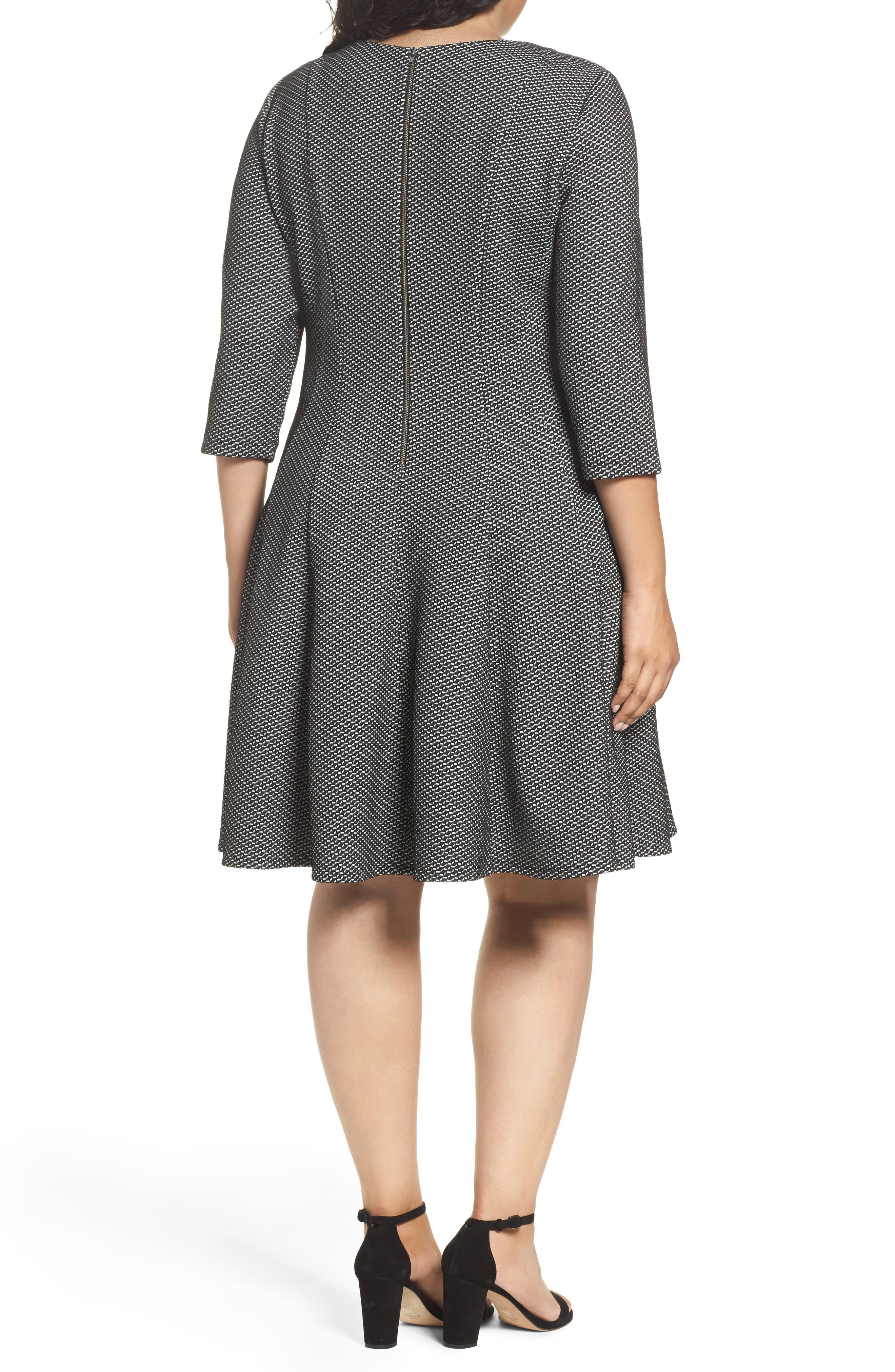 Alternate Image 2  - Gabby Skye Jacquard Fit & Flare Dress (Plus Size)