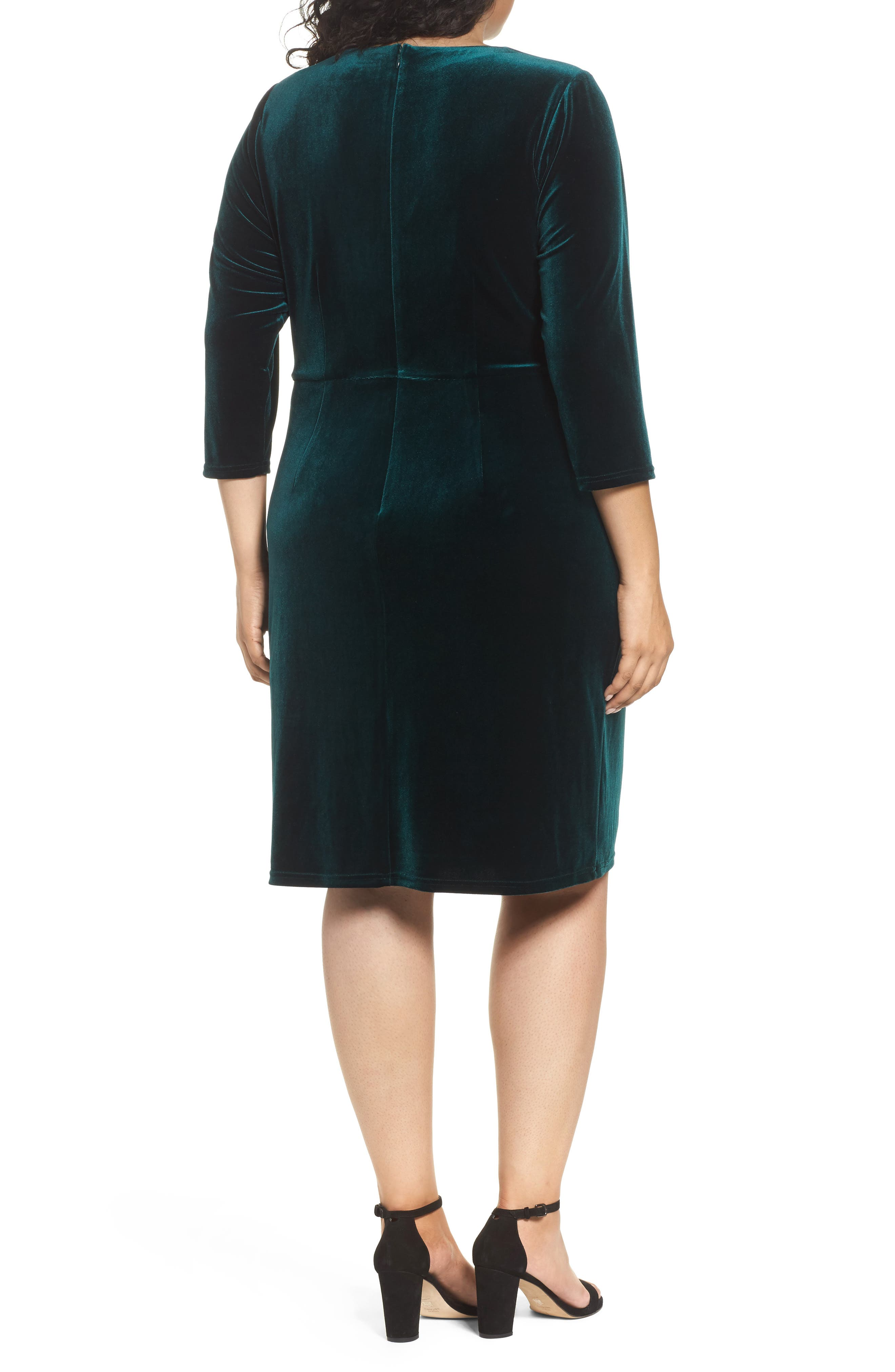 Stretch Velvet Sheath Dress,                             Alternate thumbnail 2, color,                             Hunter