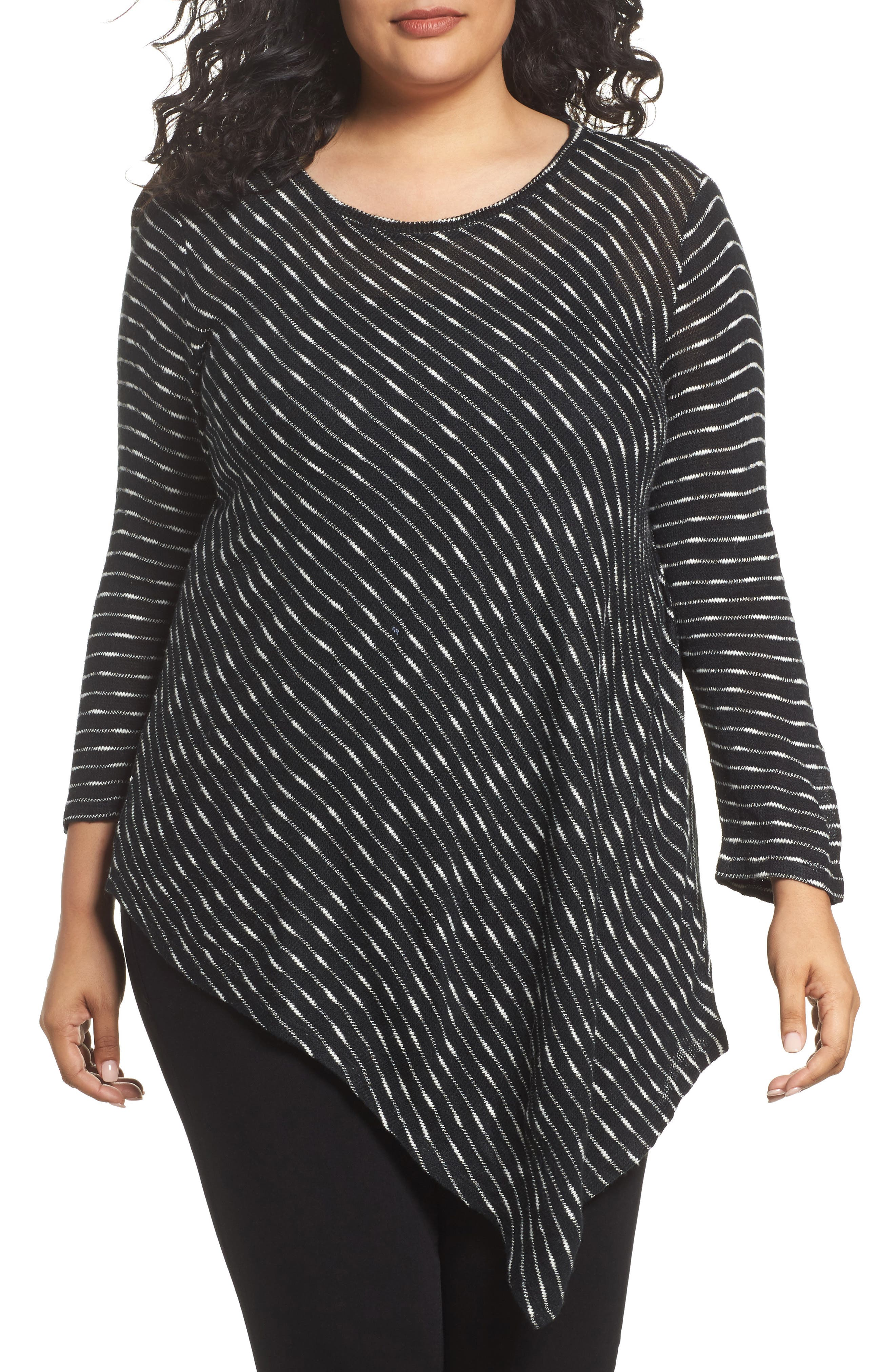 Two by Vince Camuto Asymmetrical Stripe Knit Top