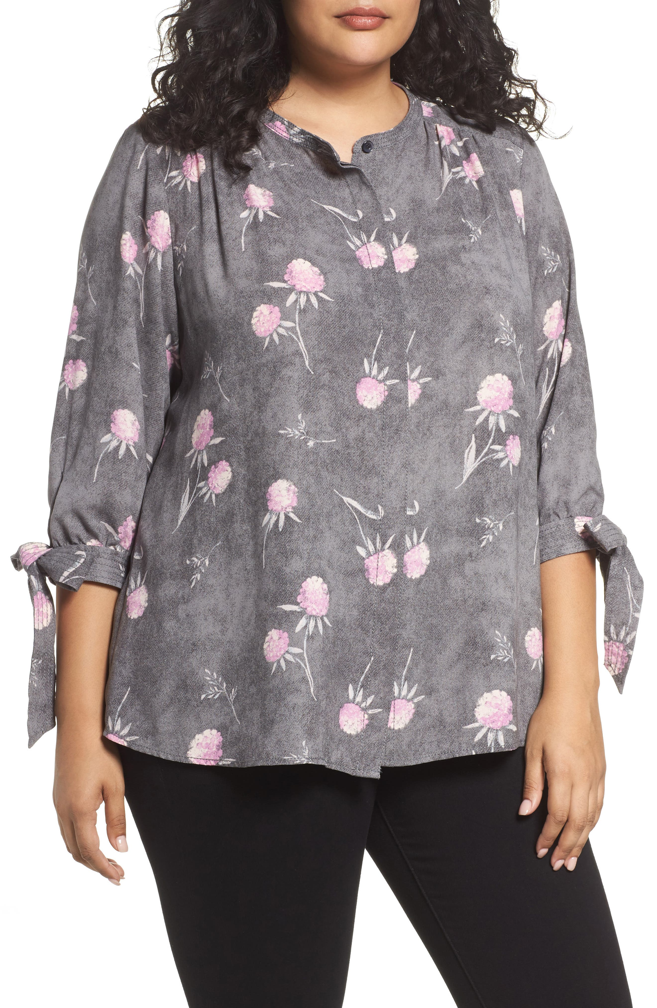 Tie Sleeve Blouse,                         Main,                         color, Grey Enchanted Floral