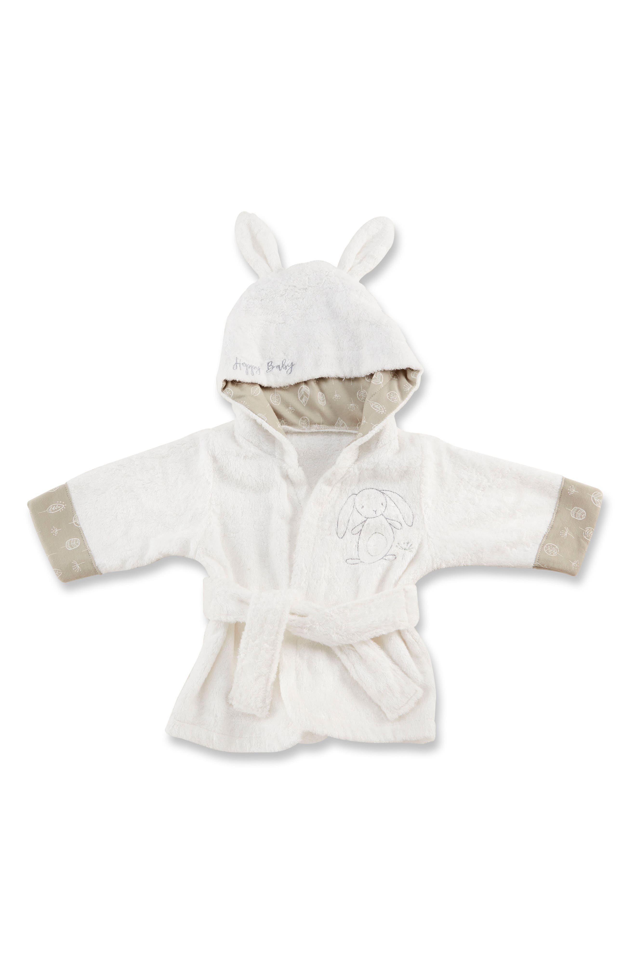 Nature Baby Bunny Bathrobe,                             Main thumbnail 1, color,                             White, Beige And Grey