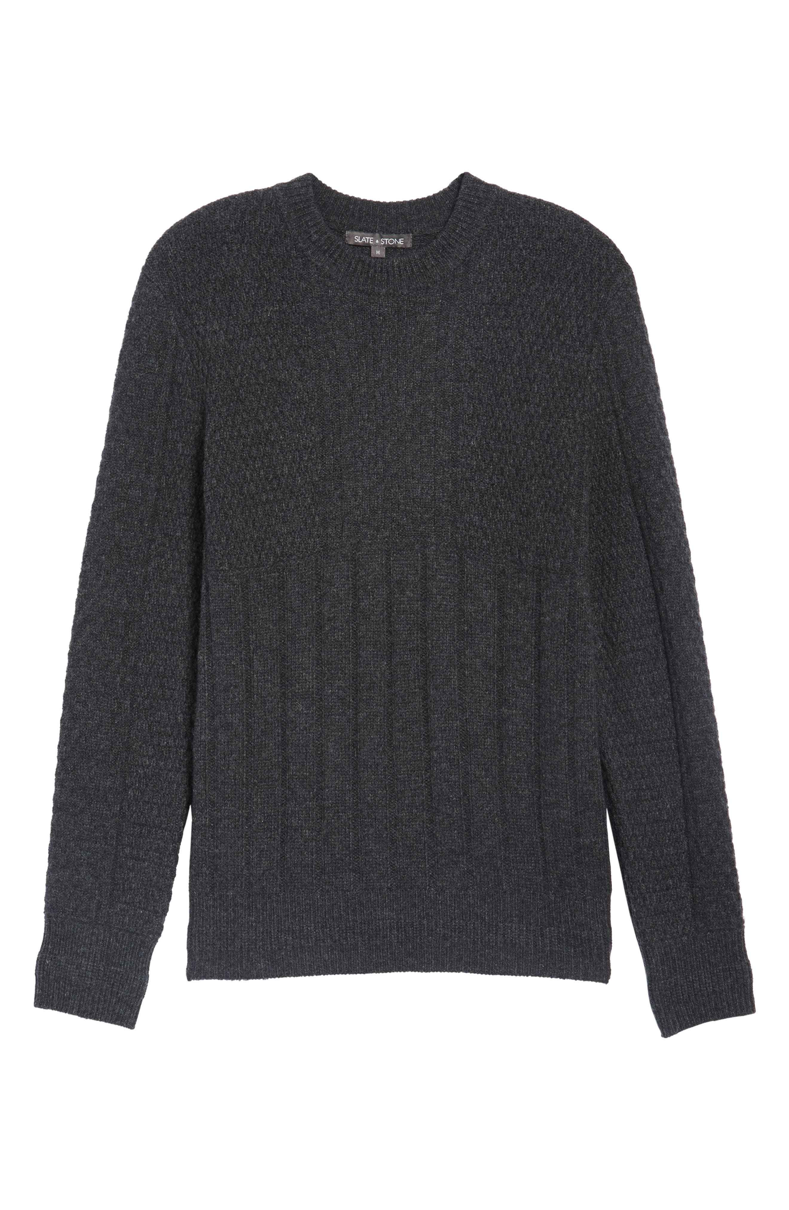 Wool Crewneck Sweater,                             Alternate thumbnail 6, color,                             Charcoal