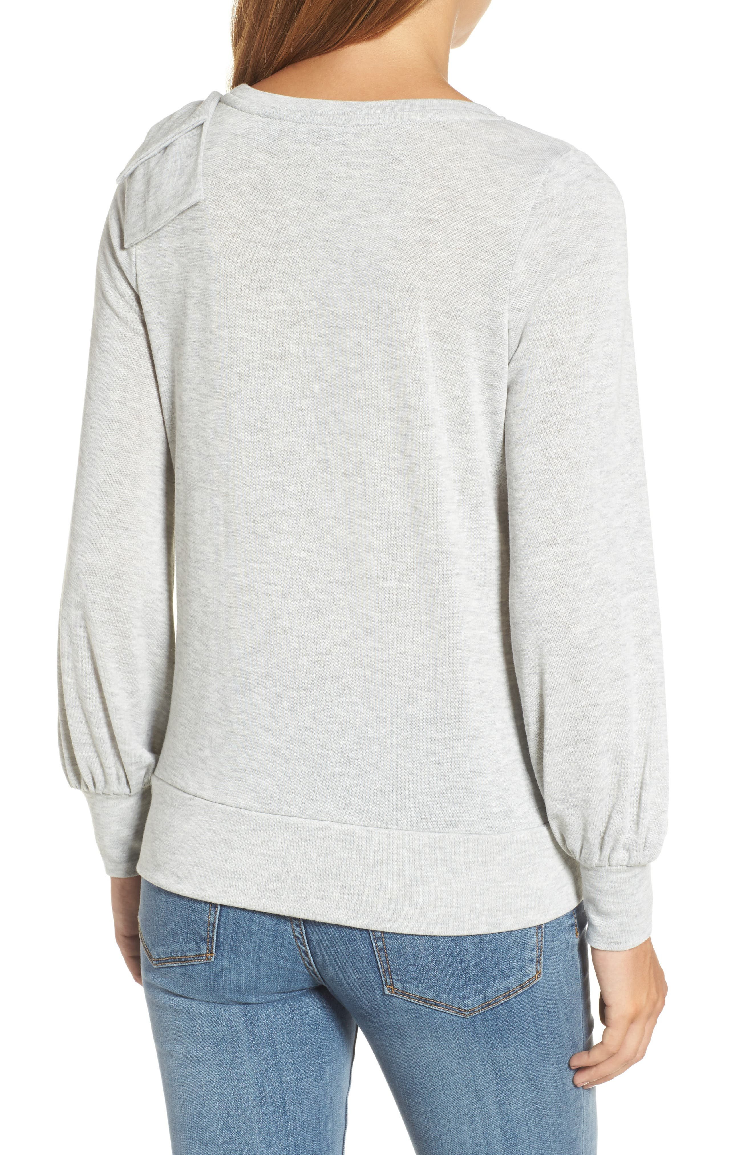 Bow Knit Sweatshirt,                             Alternate thumbnail 2, color,                             Grey Heather
