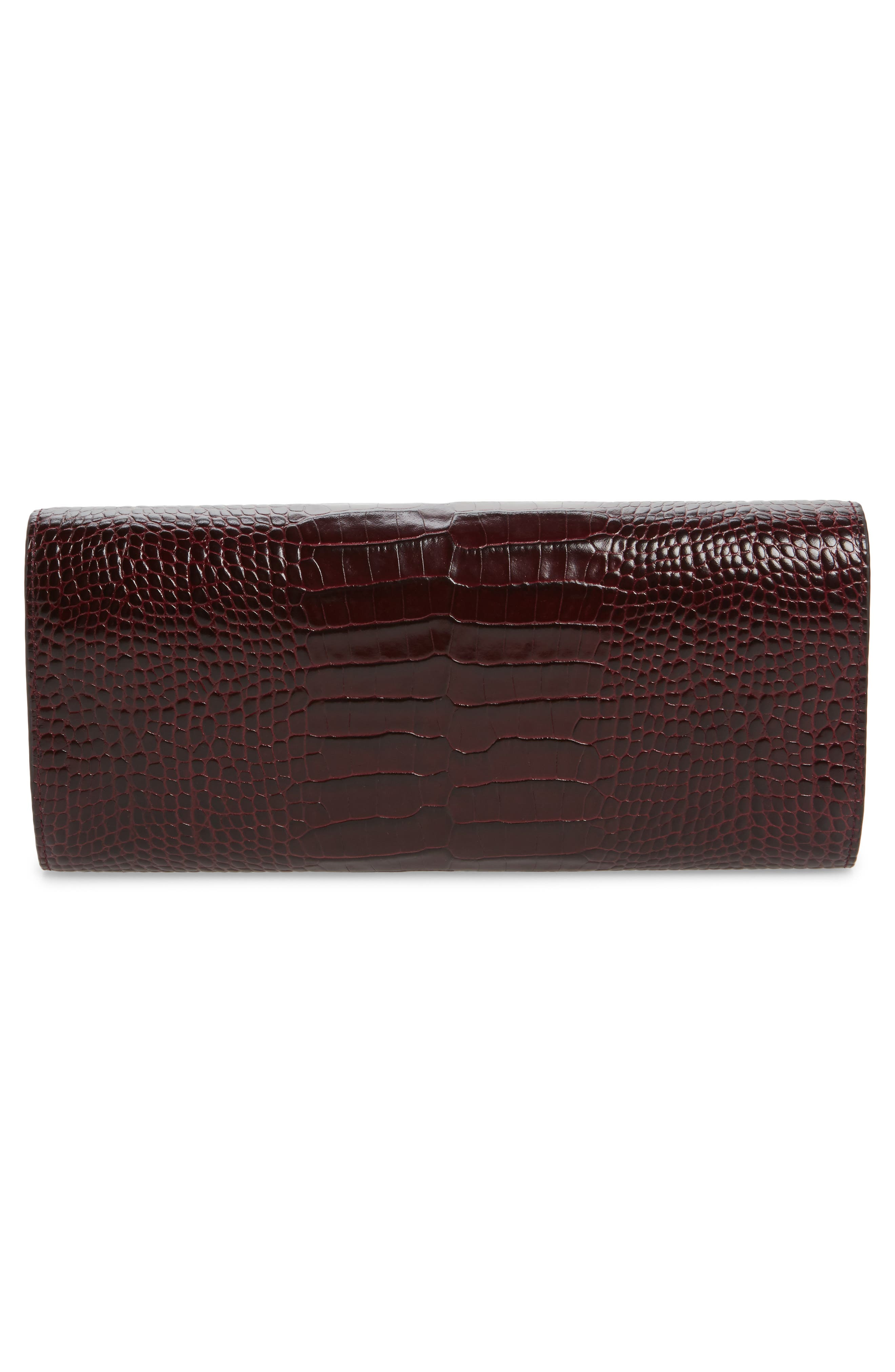 Large Mara Croc Embossed Leather Jewel Travel Roll,                             Alternate thumbnail 3, color,                             Winter Berry