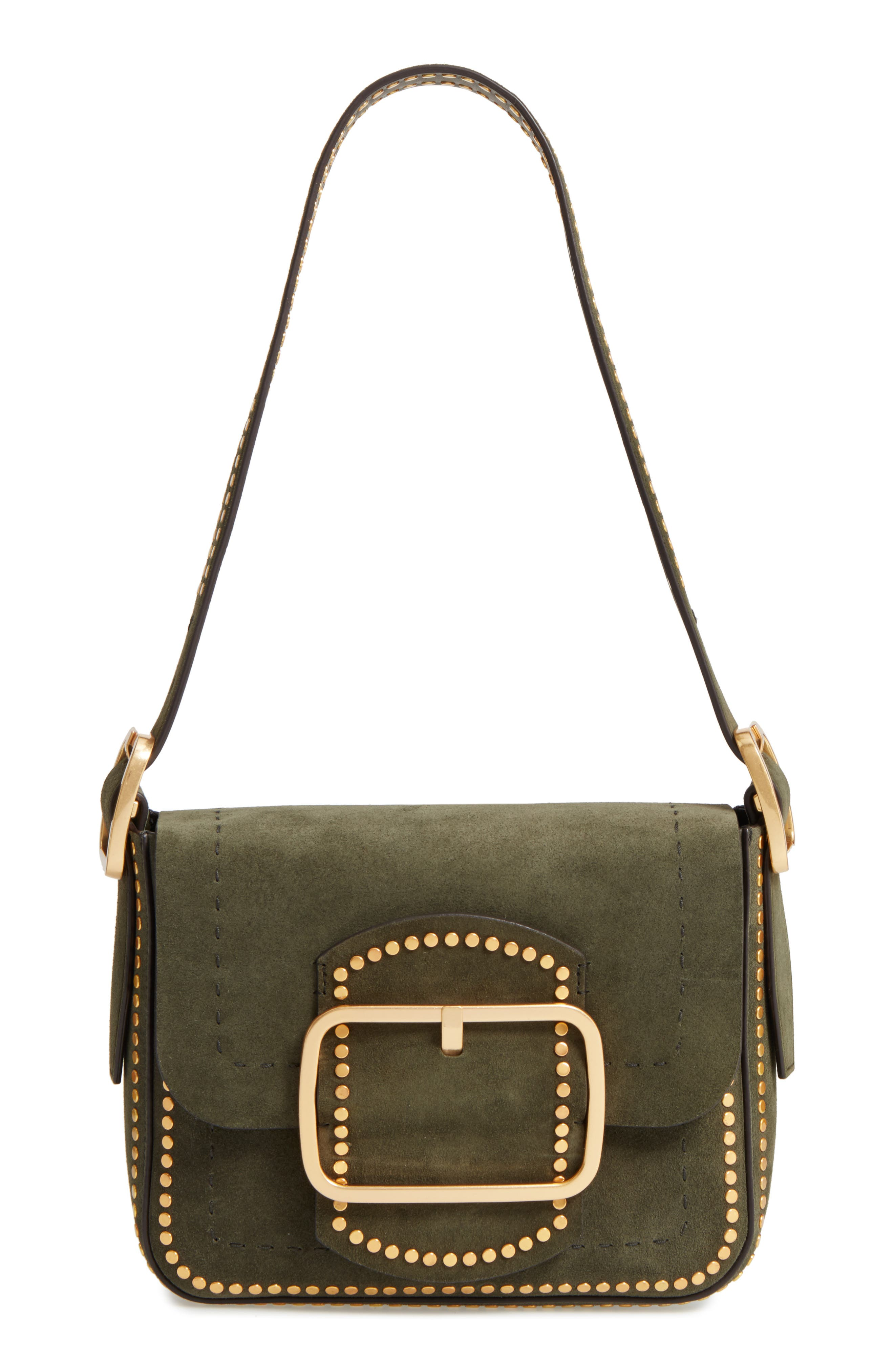 Small Sawyer Stud Suede Shoulder Bag,                             Main thumbnail 1, color,                             Boxwood