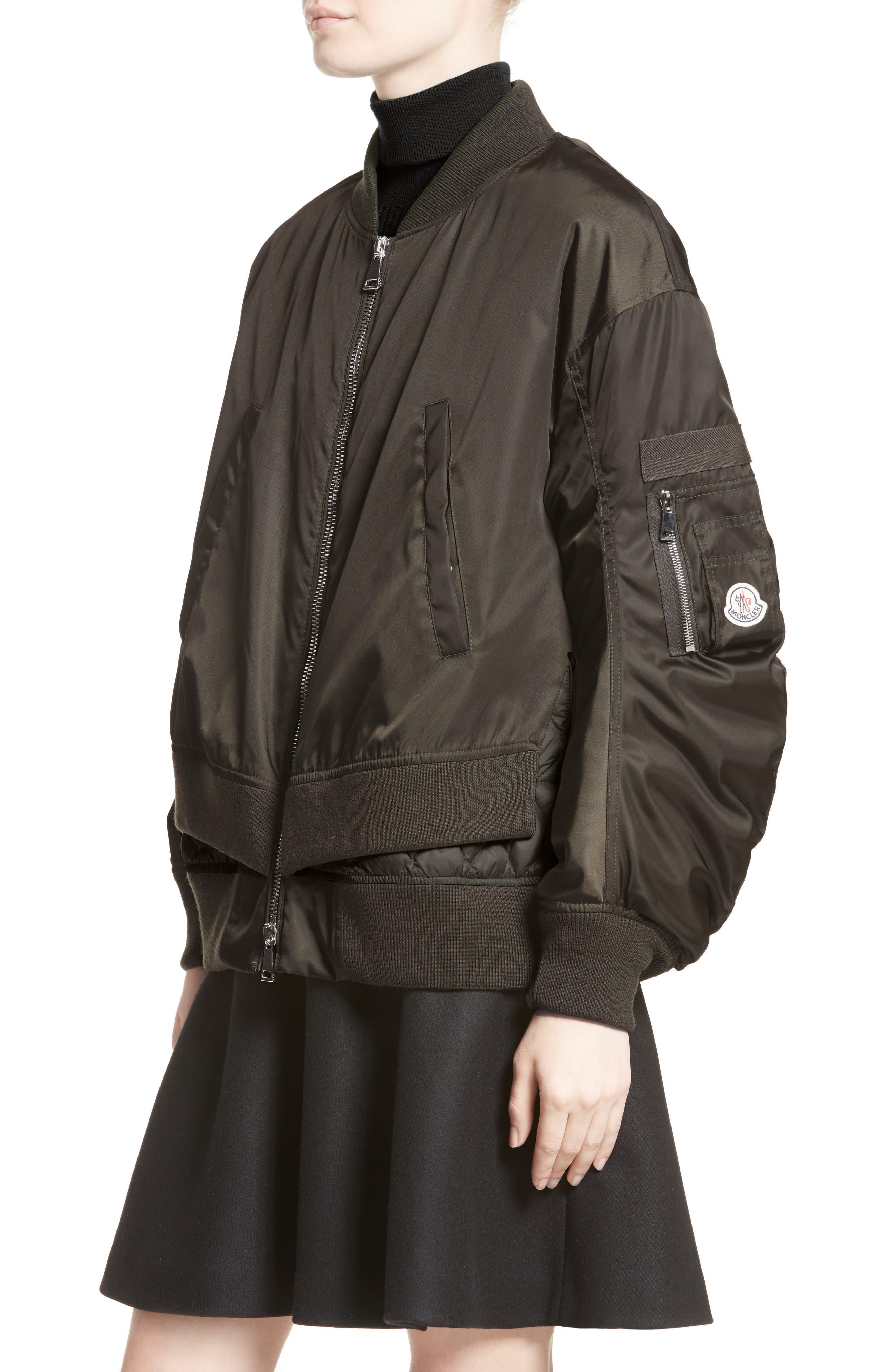 Aralia Layered Bomber Jacket,                             Alternate thumbnail 4, color,                             Olive/ Blush Lining