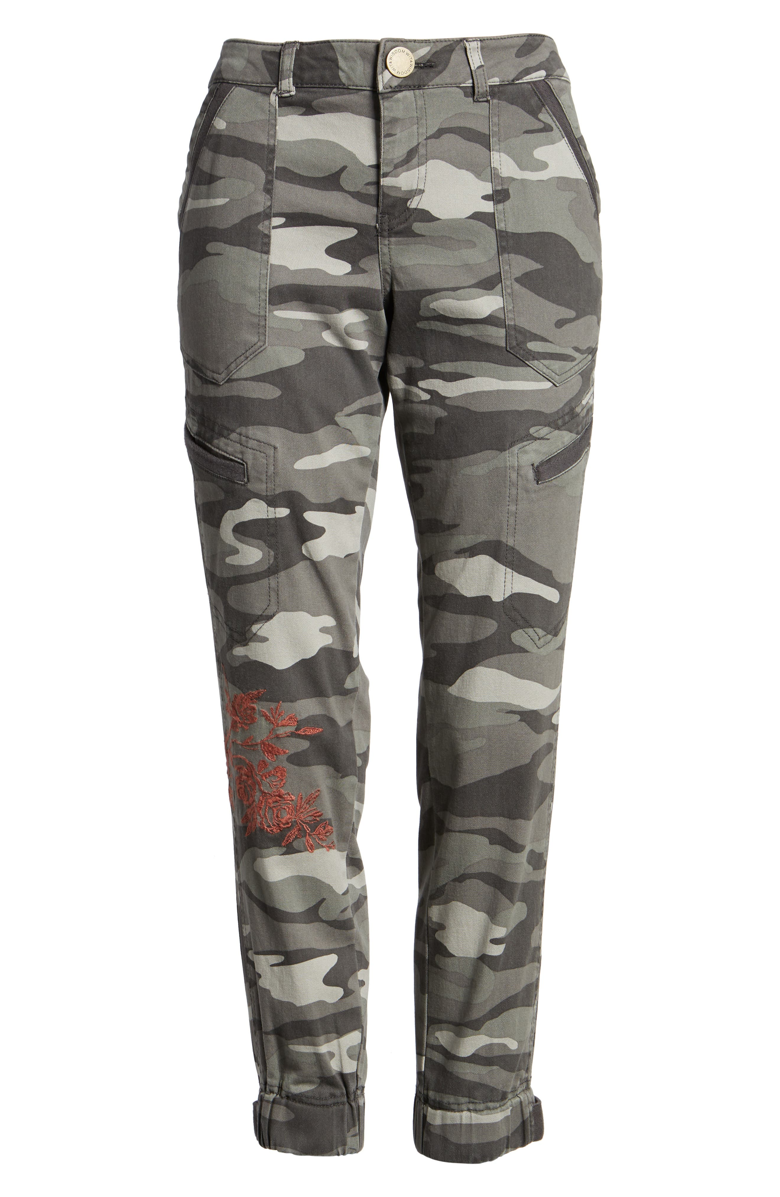 Embroidered Camo Utility Joggers,                             Alternate thumbnail 6, color,                             Sage