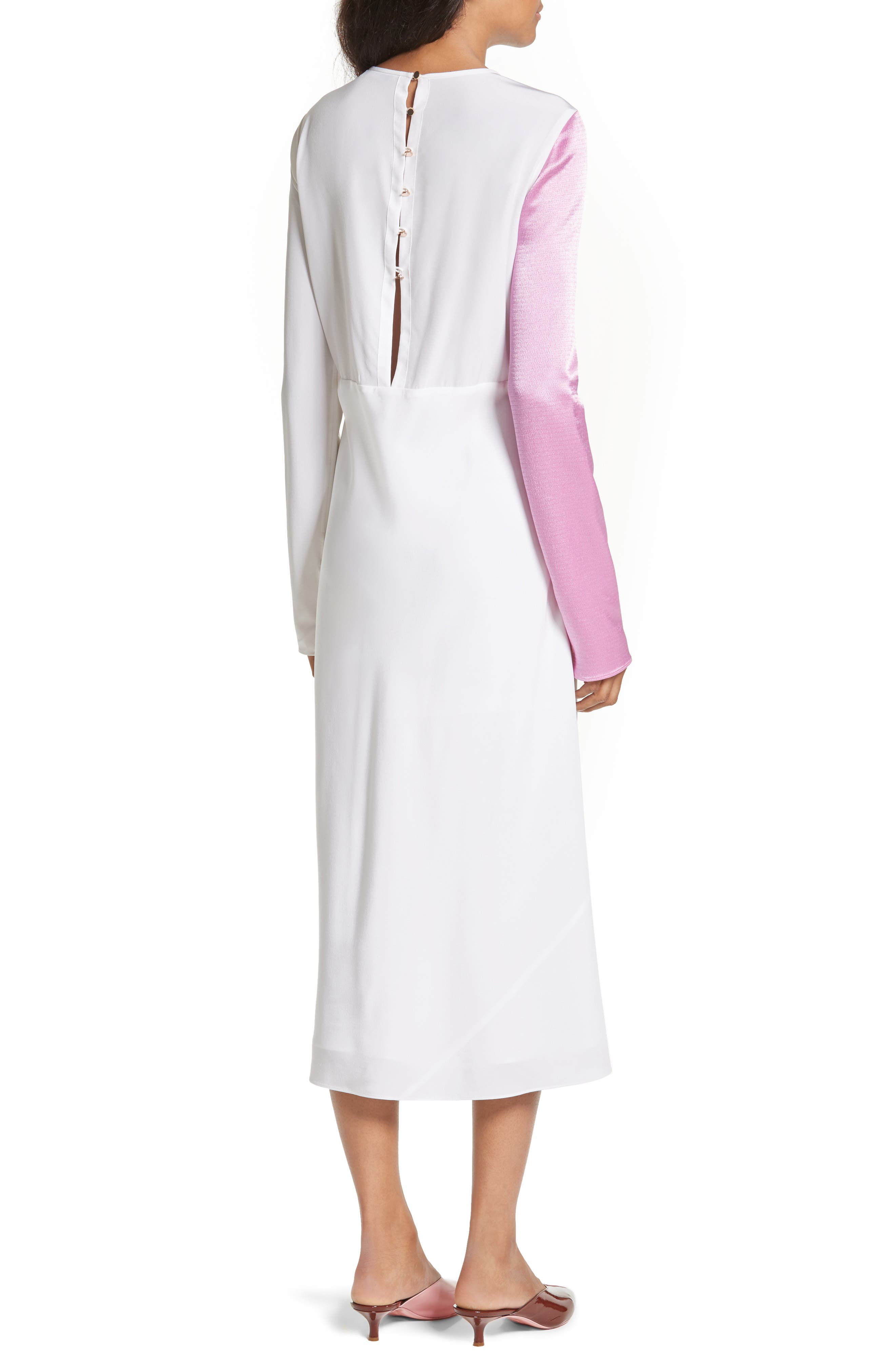 Colorblock Silk Sleeve Dress,                             Alternate thumbnail 2, color,                             White Multi