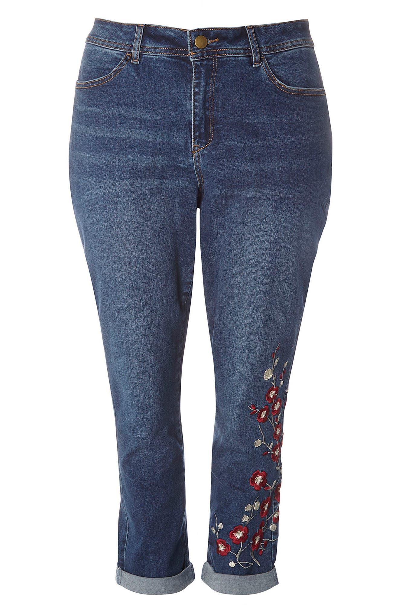 Alternate Image 5  - Evans Embroidered Crop Boyfriend Jeans (Plus Size)