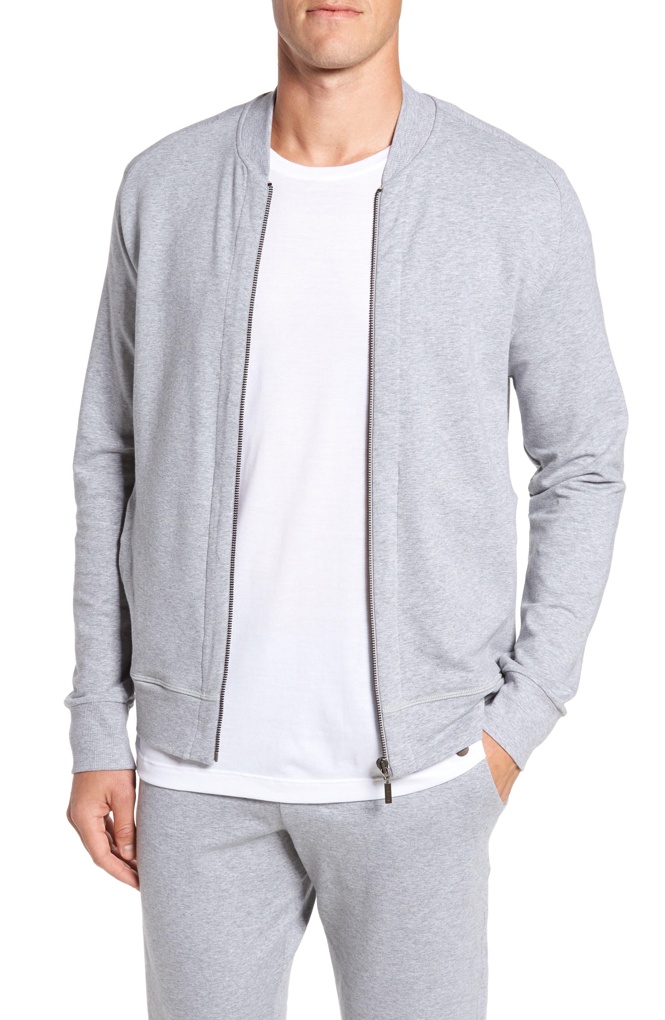Living Zip Bomber Jacket,                         Main,                         color, Grey Melange