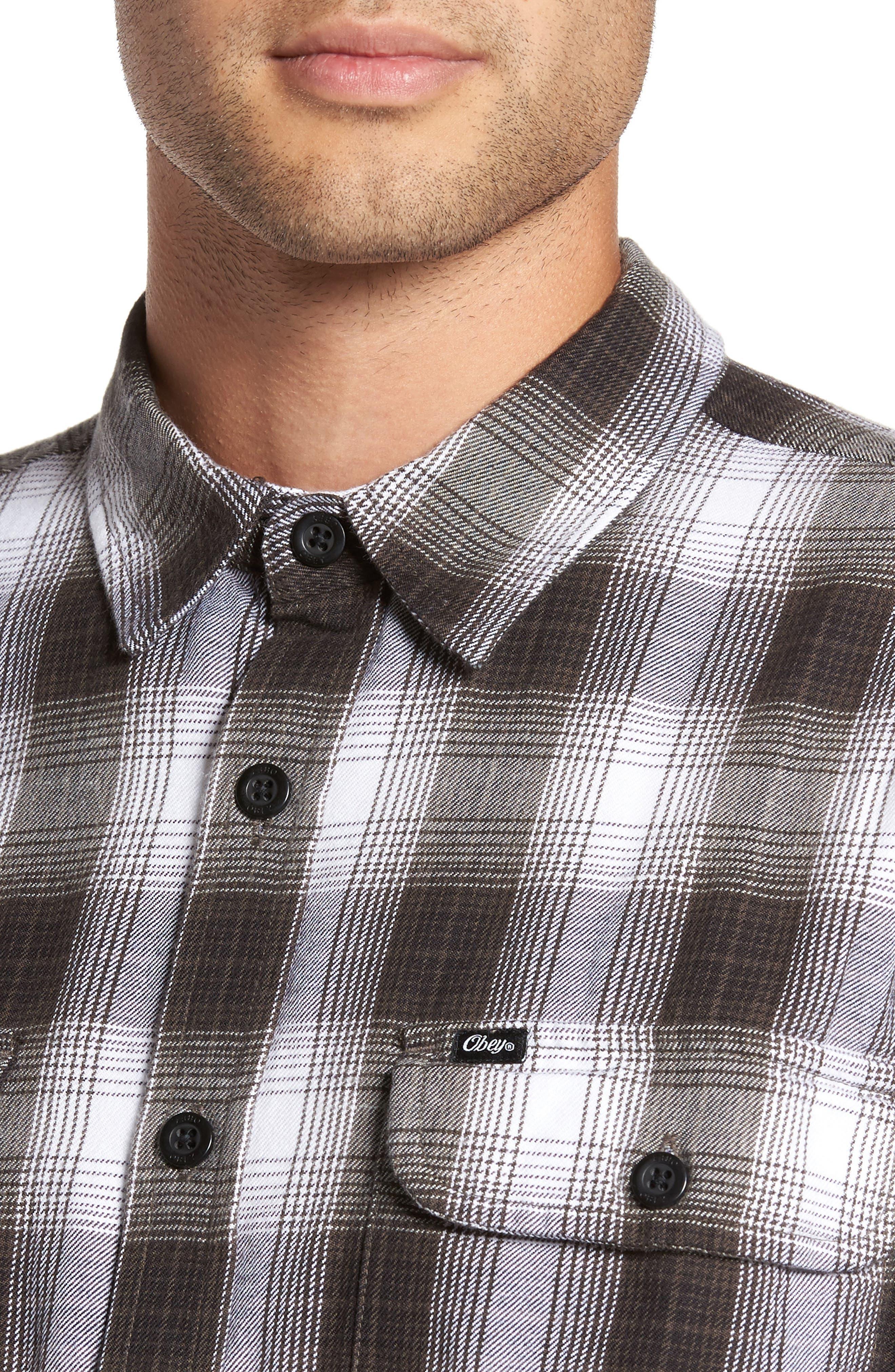 Kemper Plaid Woven Shirt,                             Alternate thumbnail 4, color,                             Black Multi
