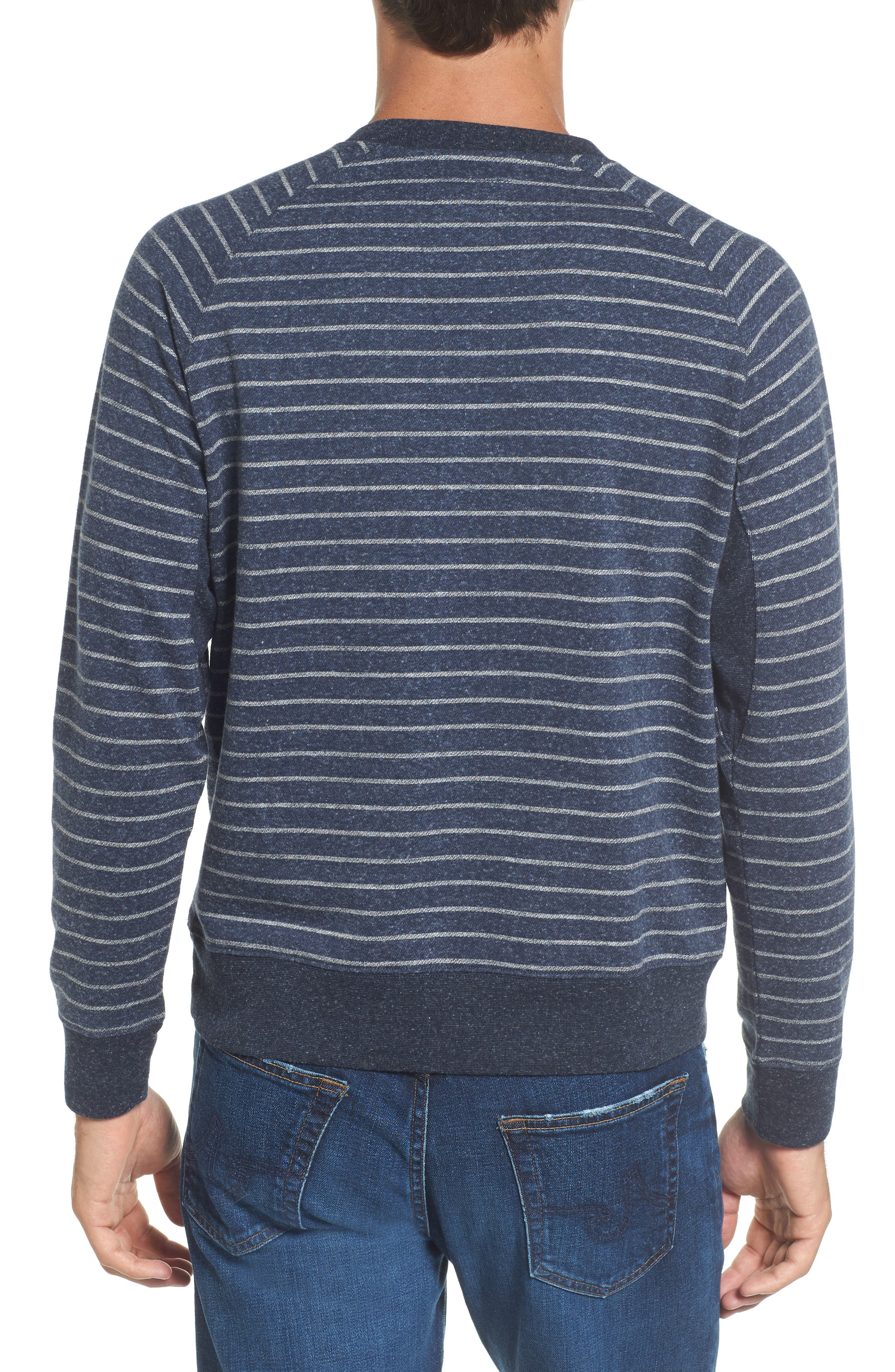 Palmer Modern Fit Athletic Stripe Sweatshirt,                             Alternate thumbnail 3, color,                             Navy/ Gray Heather