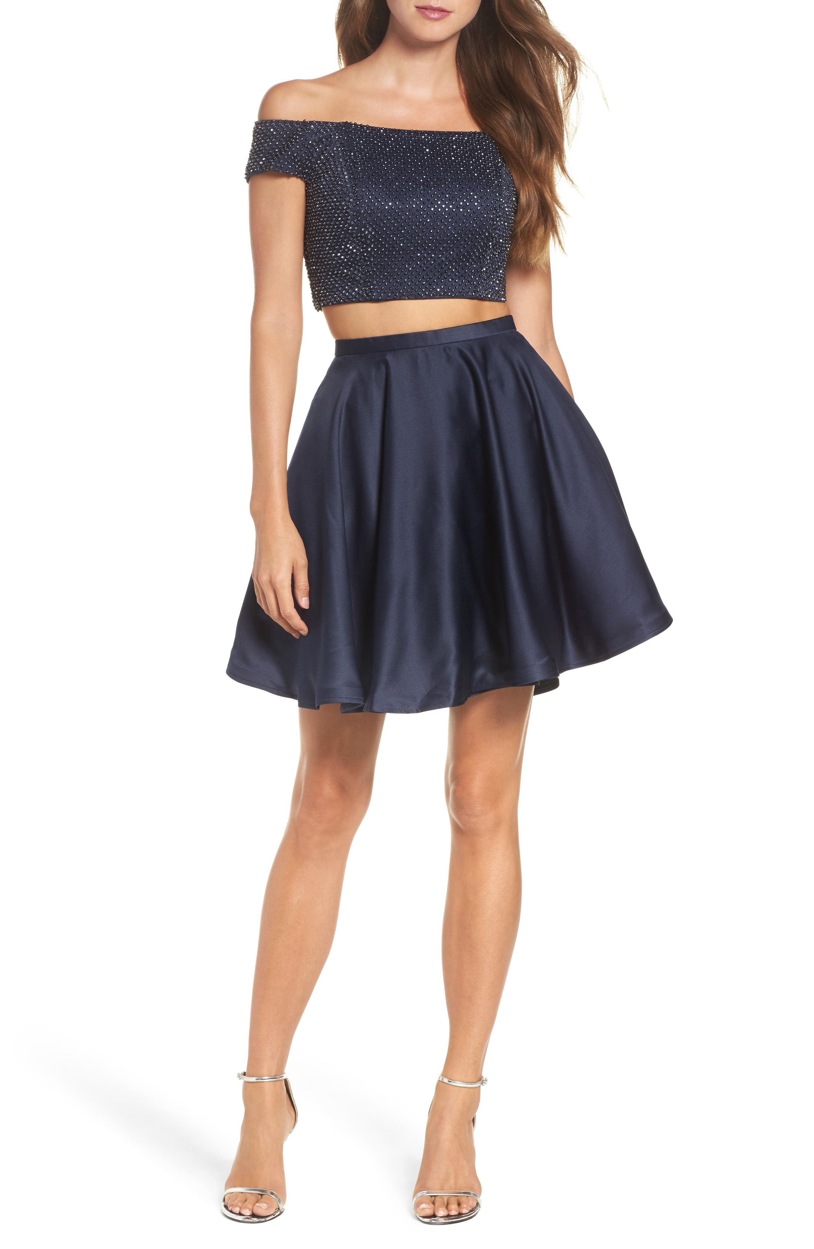 Off the Shoulder Two-Piece Fit & Flare Dress,                         Main,                         color, Navy