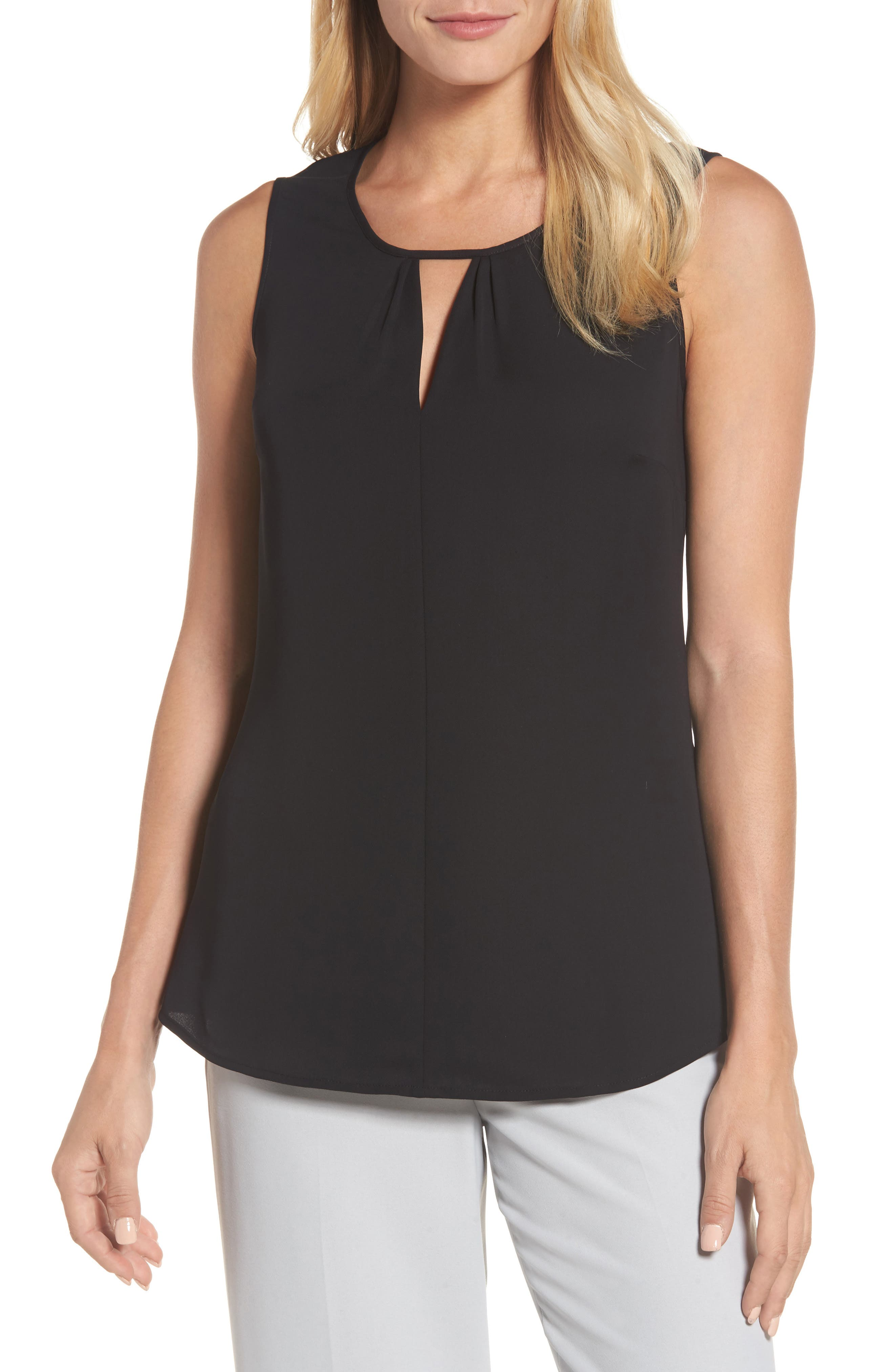 Easy Keyhole Tank Top,                             Main thumbnail 1, color,                             Black Onyx