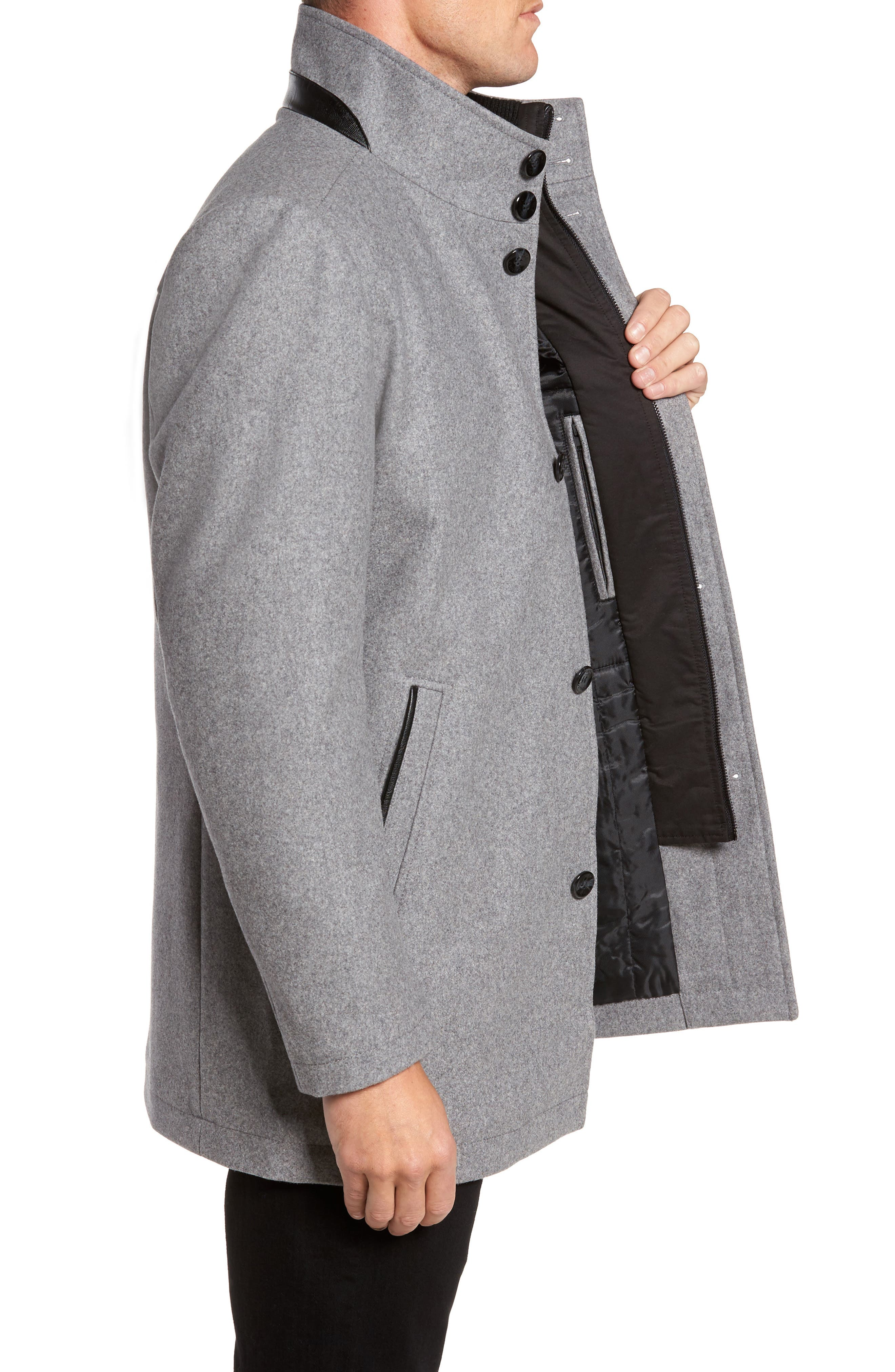 Alternate Image 3  - Vince Camuto Classic Wool Blend Car Coat with Inset Bib
