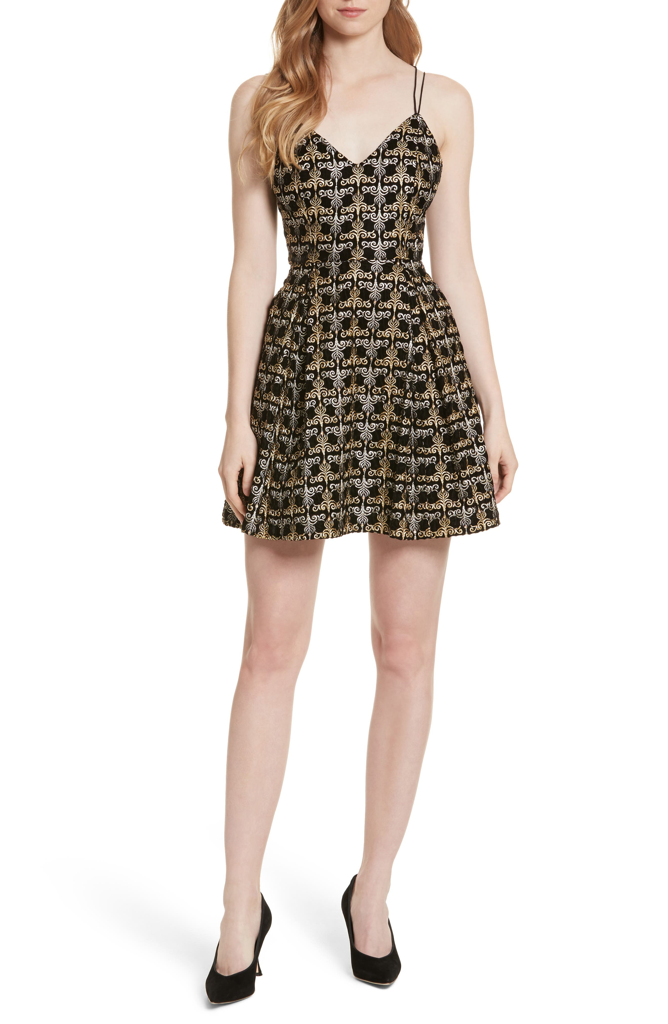 Marilla Embroidered Strappy Dress,                         Main,                         color, Black/ Gold