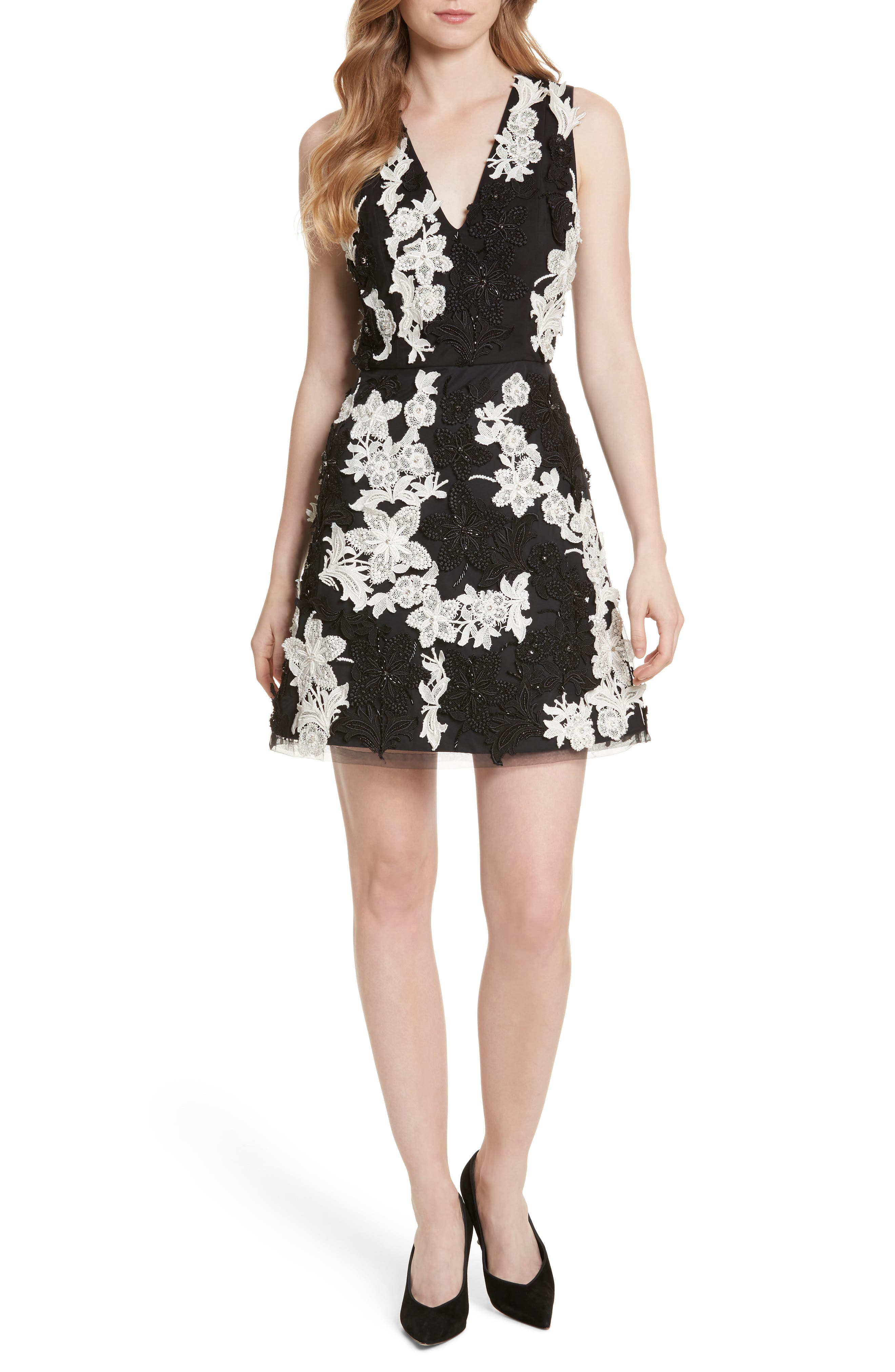 Main Image - Alice + Olivia Embellished V-Neck Dress