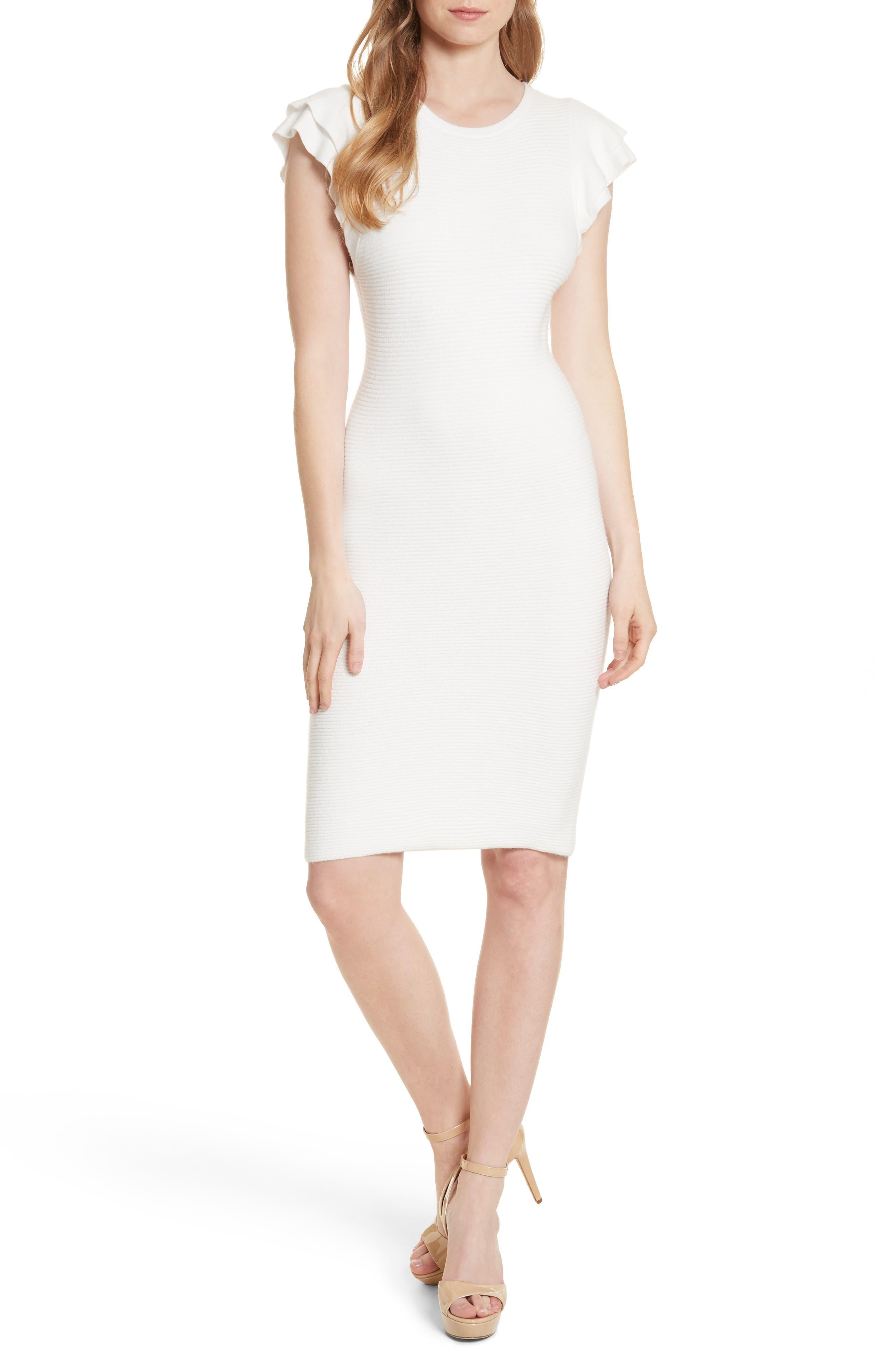 Alice + Olivia Kellin Ruffle Sleeve Sweater Dress