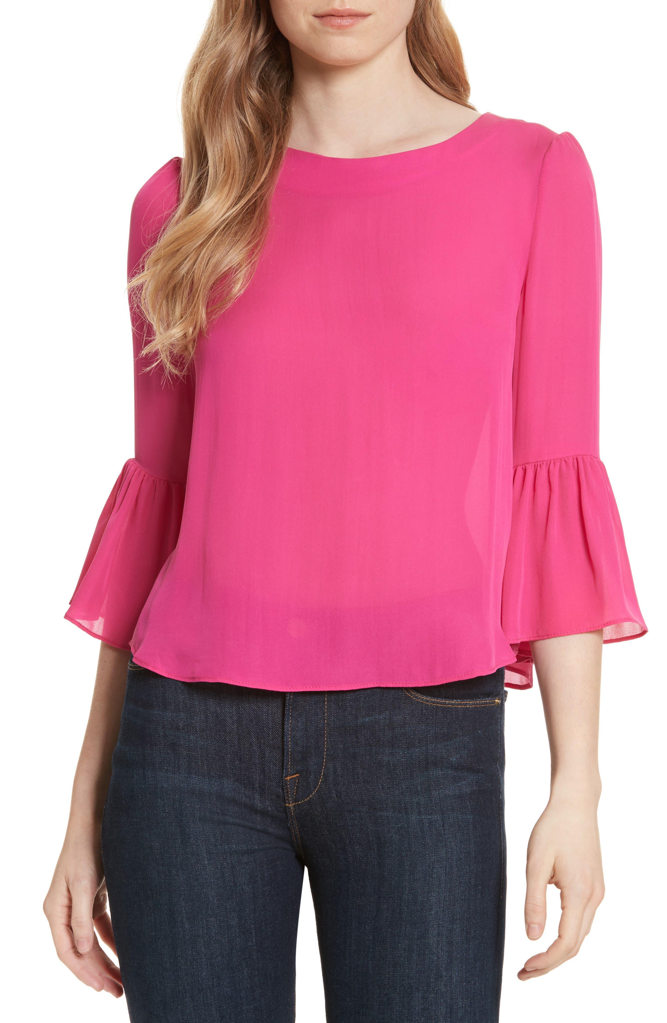 Bernice Ruffle Sleeve Silk Top,                             Main thumbnail 1, color,                             Fuchsia