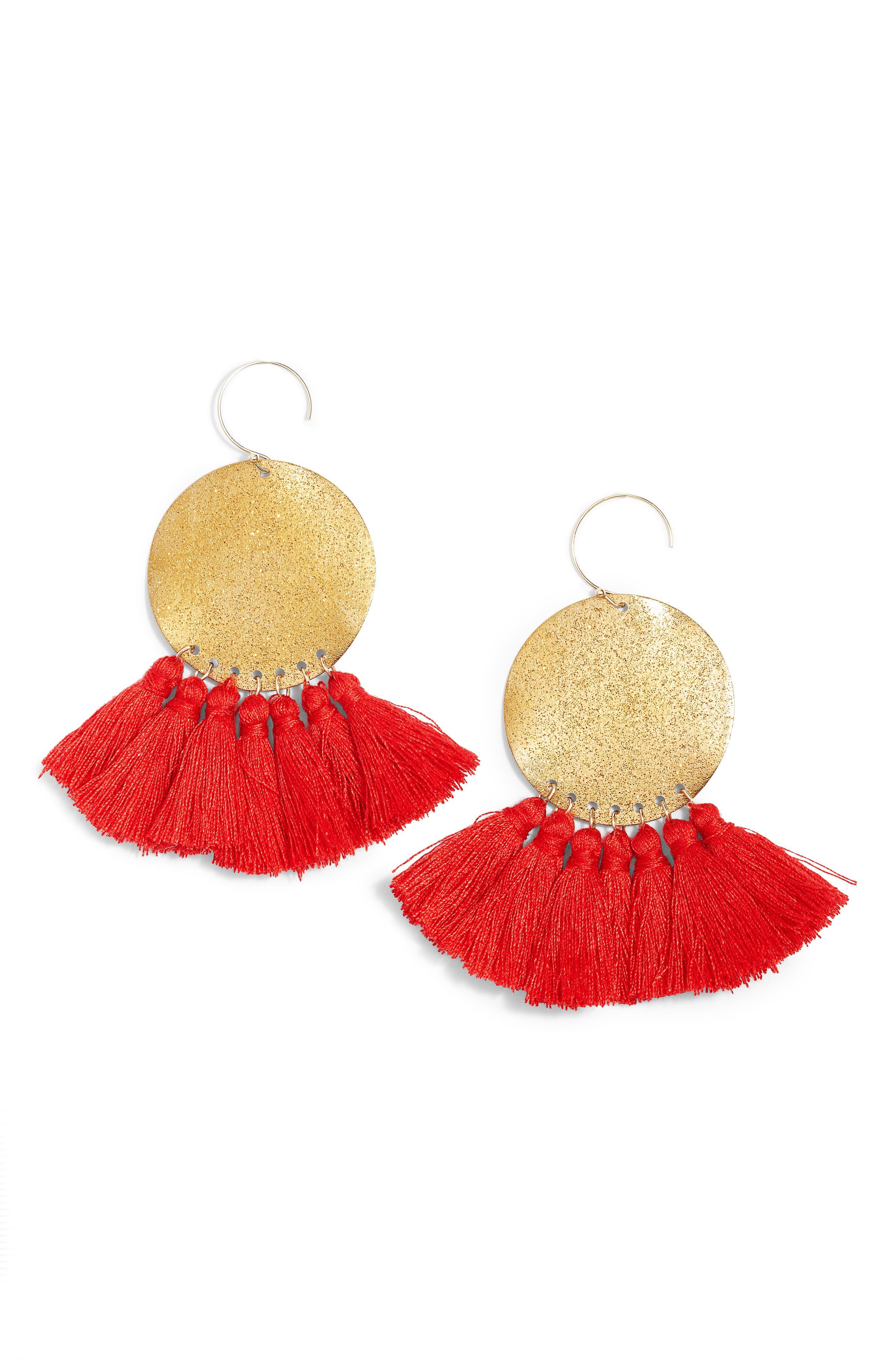 Lunar Tassel Earrings,                         Main,                         color, Gold/ Red