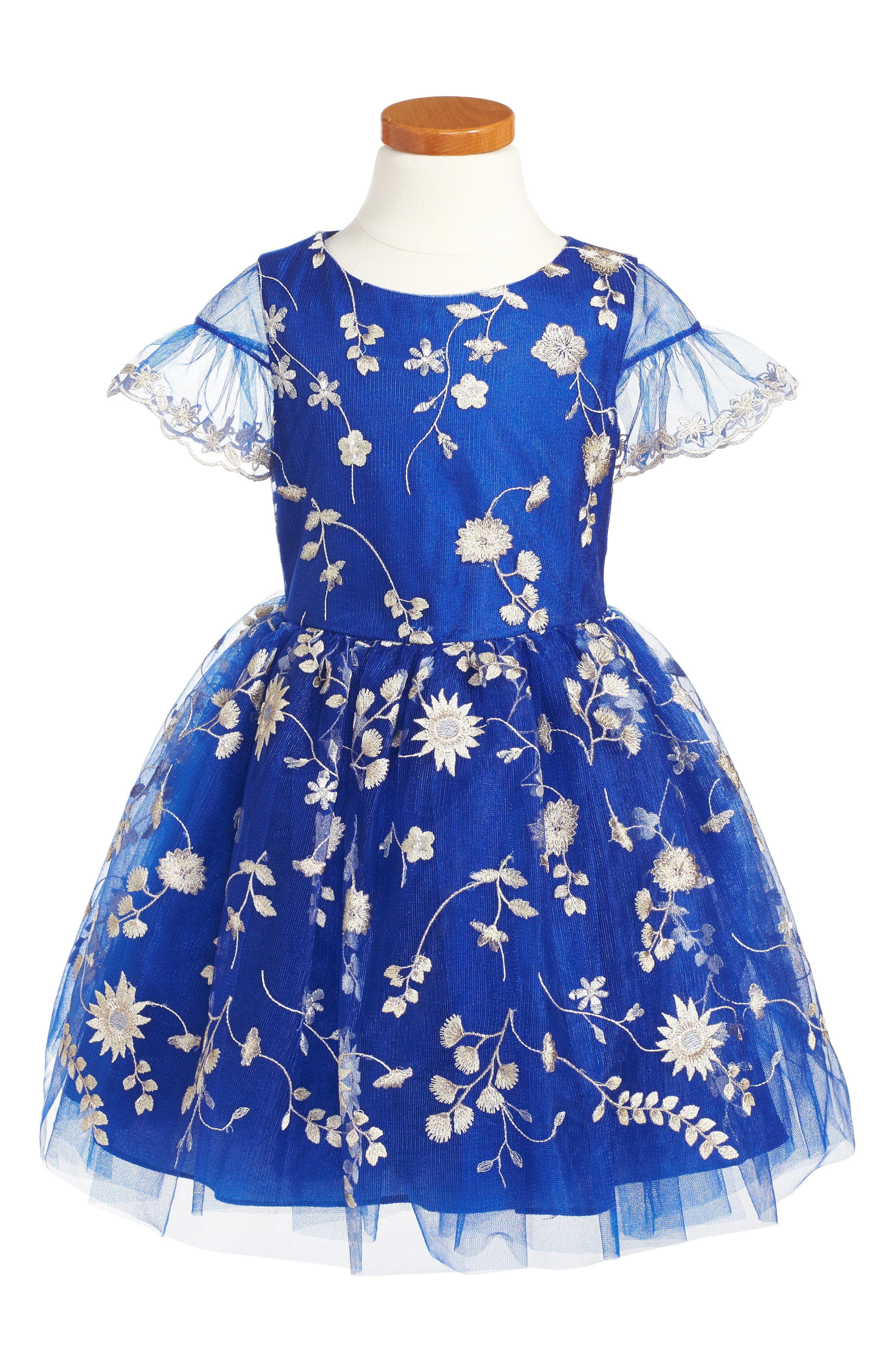Floral Embroidery Dress,                             Main thumbnail 1, color,                             Royal Blue/ Gold