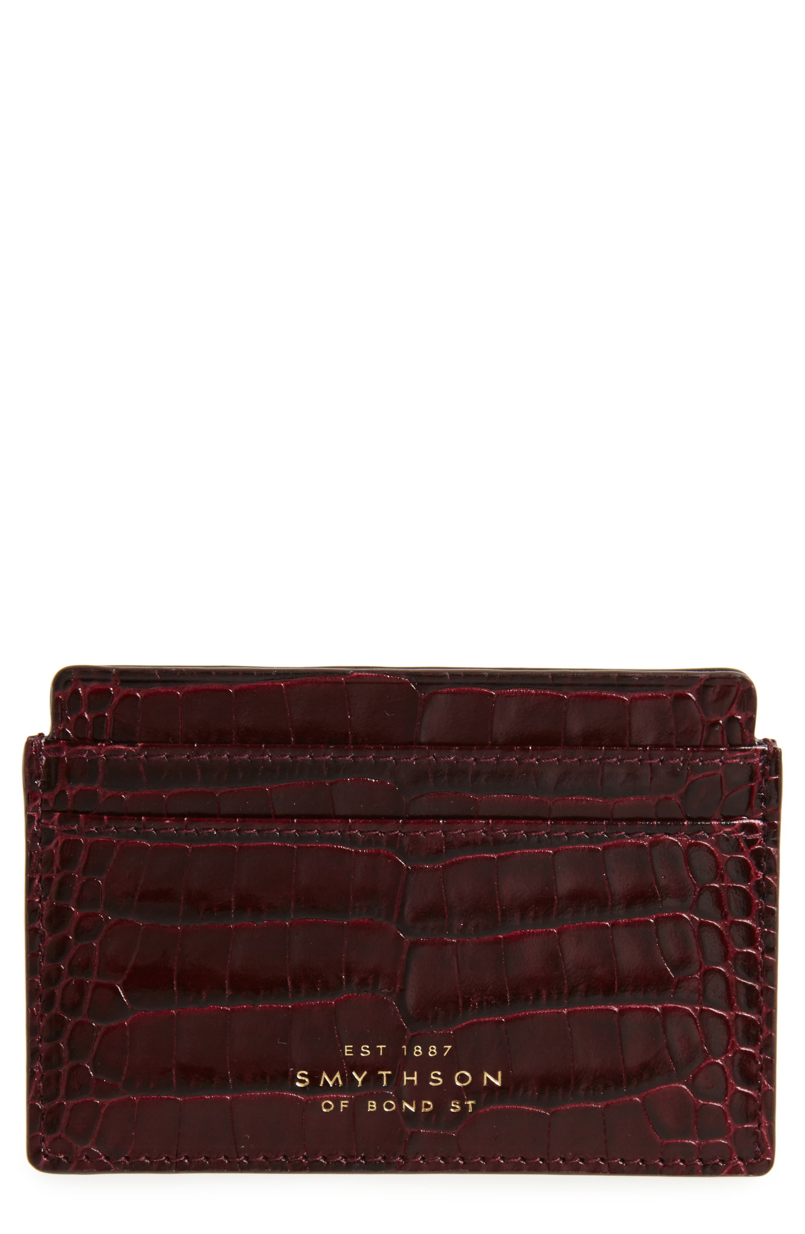 Mara Tiered Croc Embossed Leather Card Holder,                             Main thumbnail 1, color,                             Winter Berry