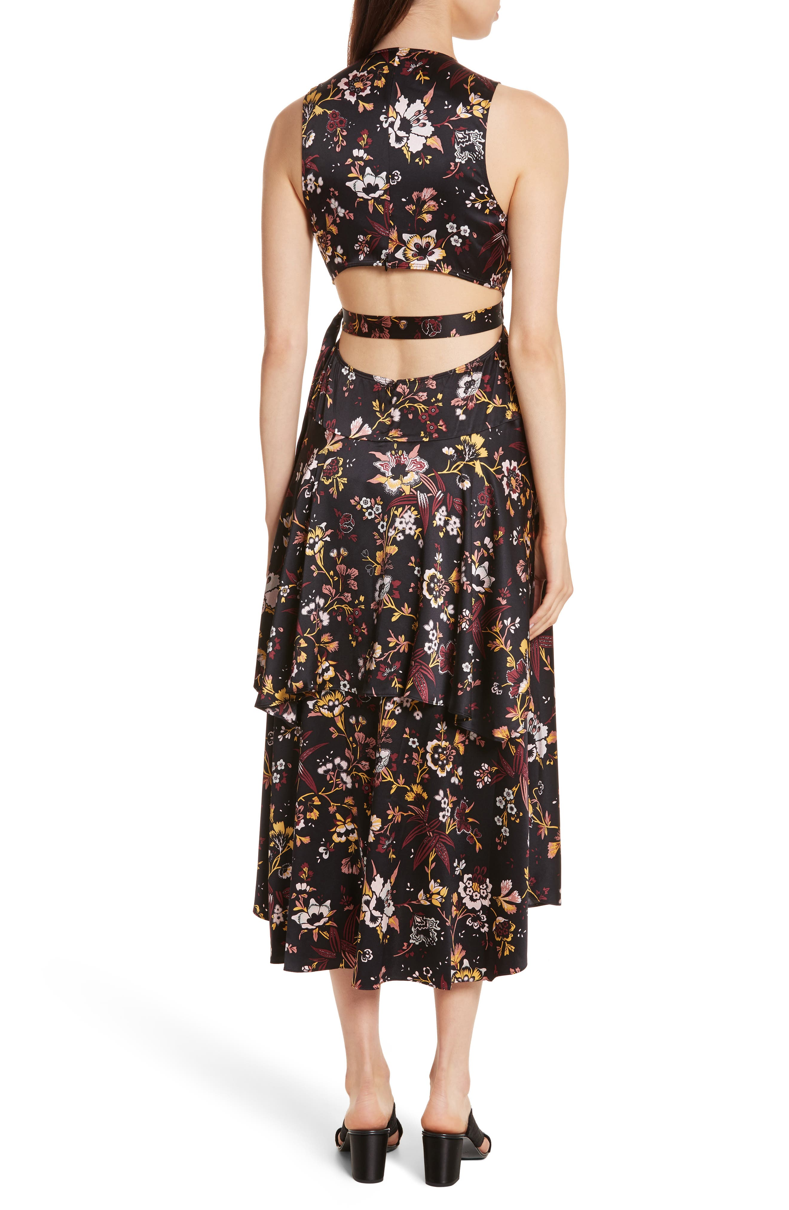 Verbena Floral Print Stretch Silk Dress,                             Alternate thumbnail 2, color,                             Black/ Grey/ Mustard