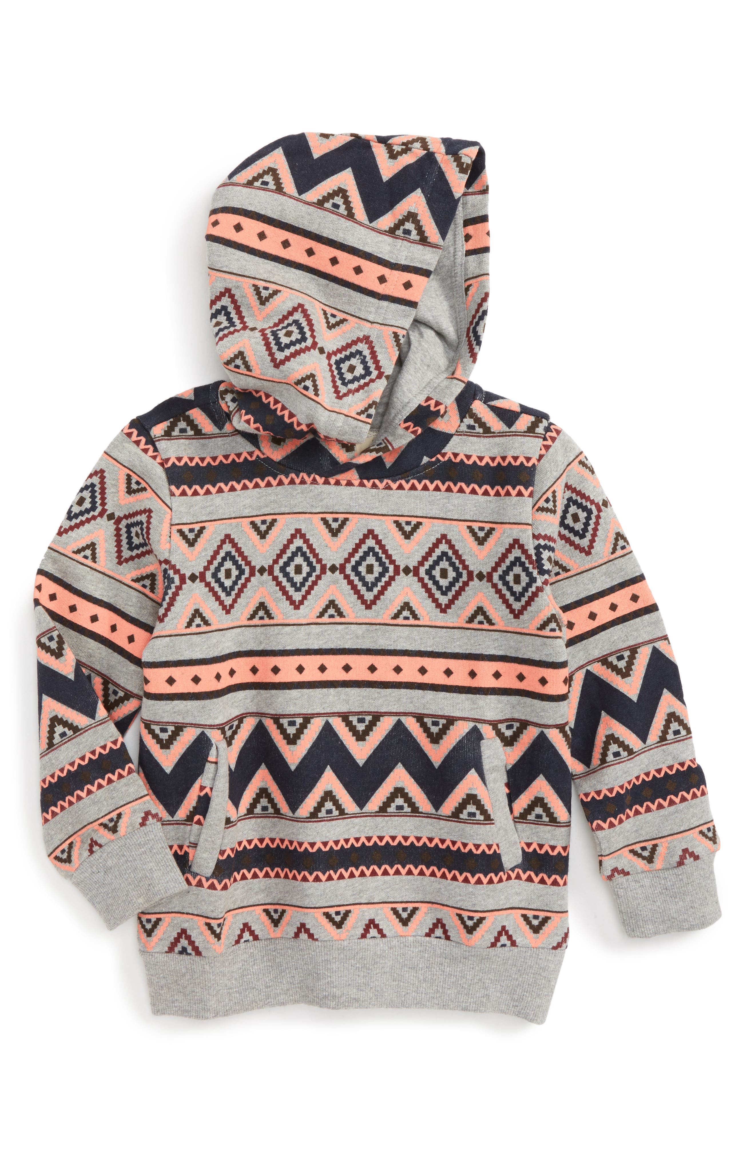 Geo Print Hoodie,                         Main,                         color, Heather Grey