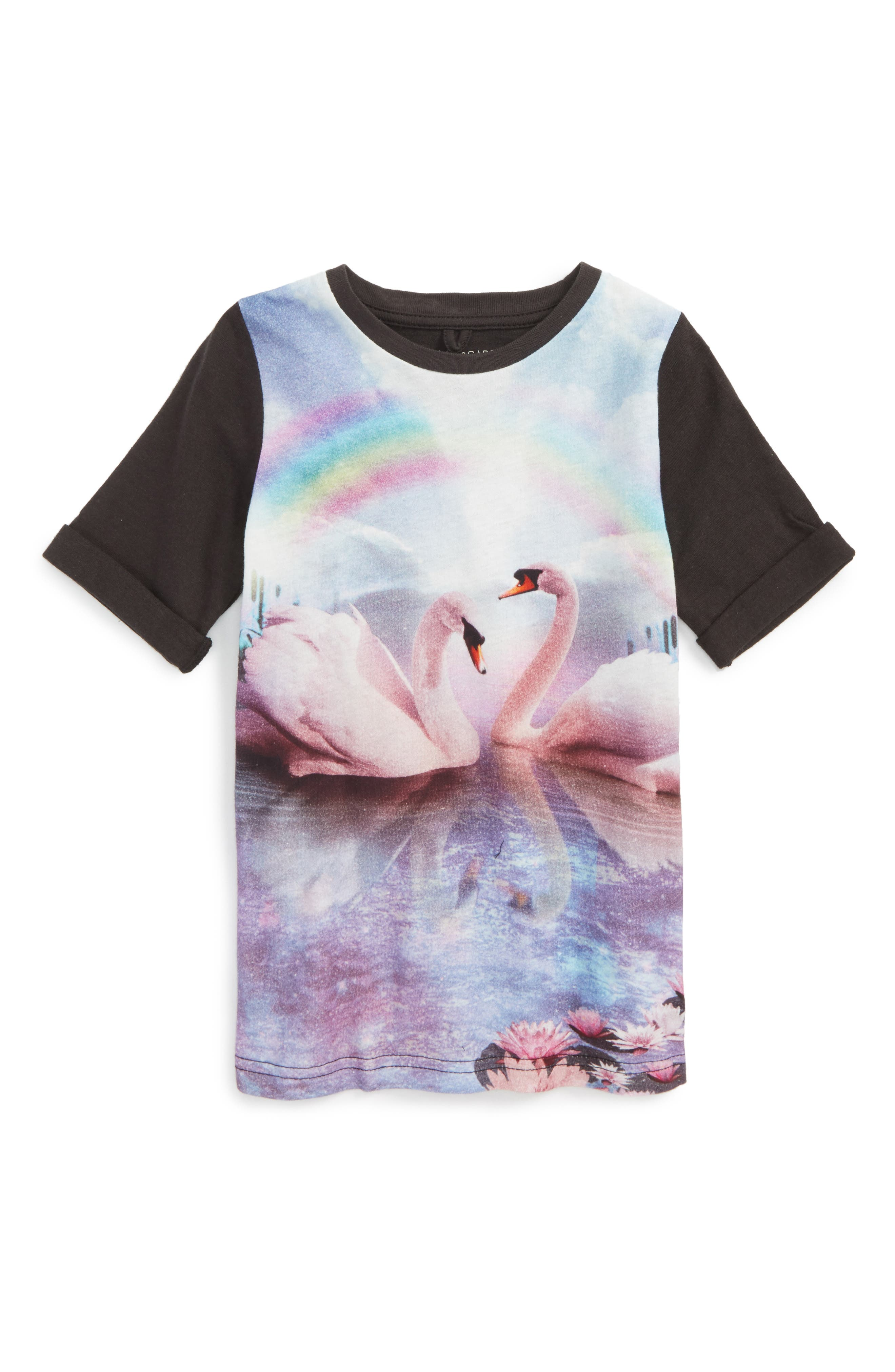 Kids Swan Graphic T-Shirt Dress,                         Main,                         color, Washed Black