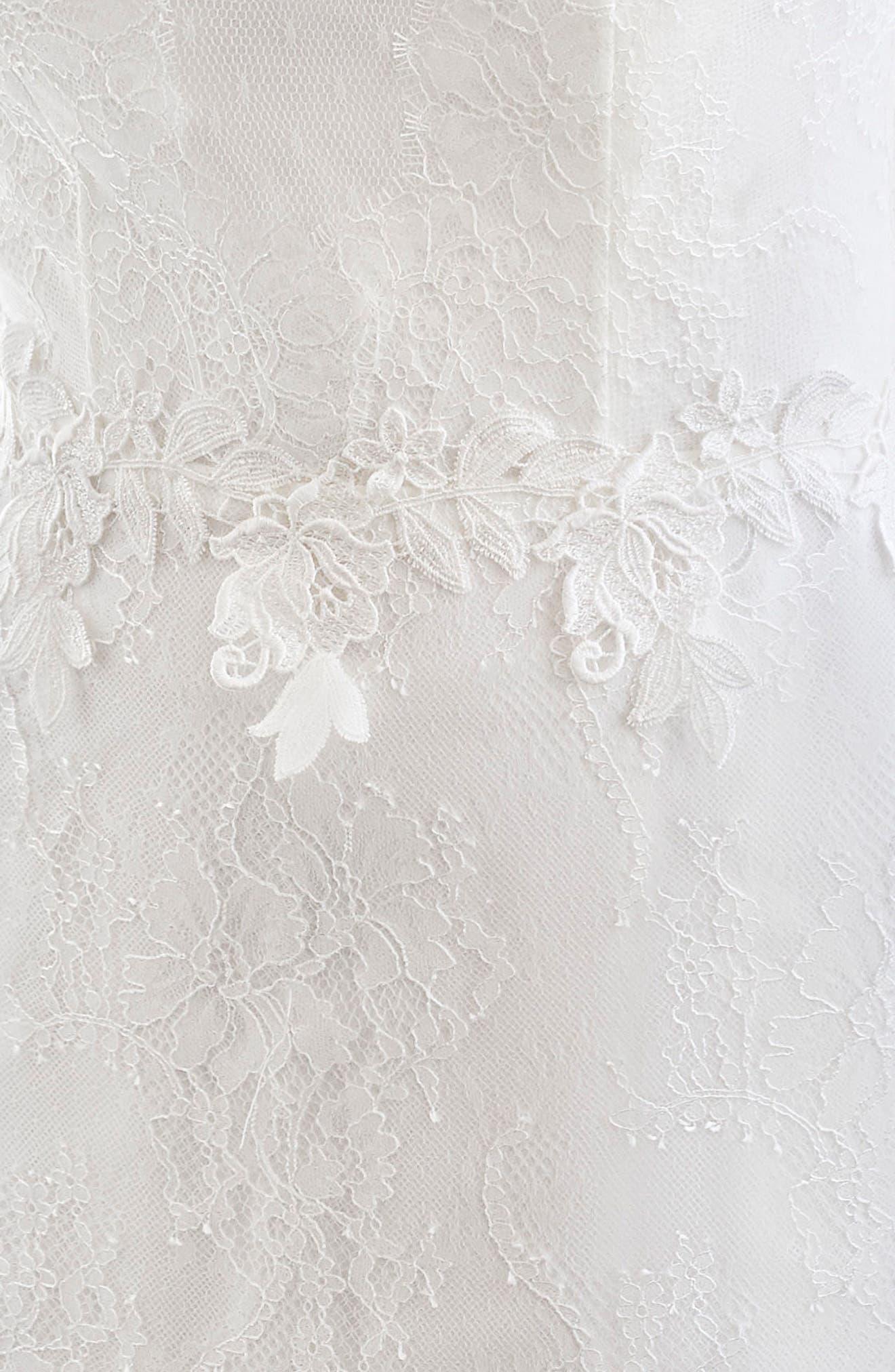 Inmaculada García Rubi Bell Sleeve Illusion Sheath Gown,                             Alternate thumbnail 3, color,                             Ivory